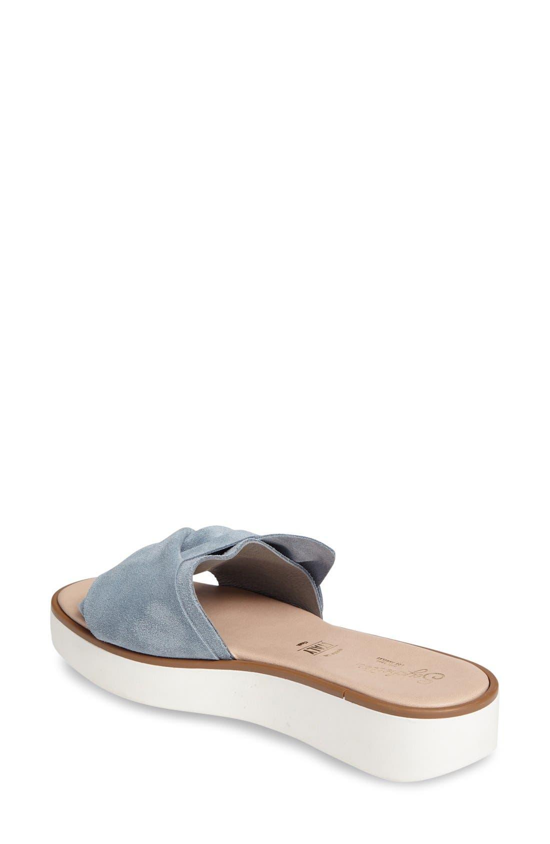 Coast Knotted Slide Sandal,                             Alternate thumbnail 2, color,                             Blue Suede