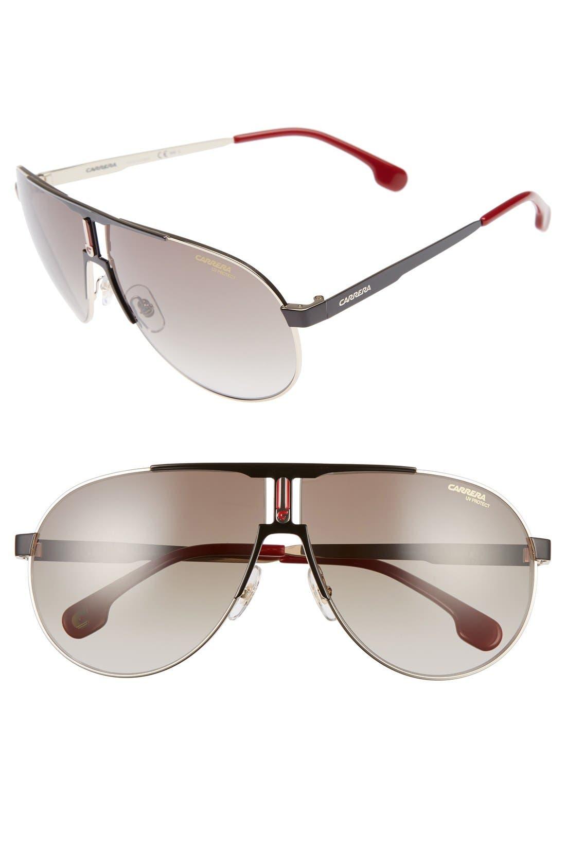 66mm Aviator Sunglasses,                             Main thumbnail 1, color,                             Black Gold