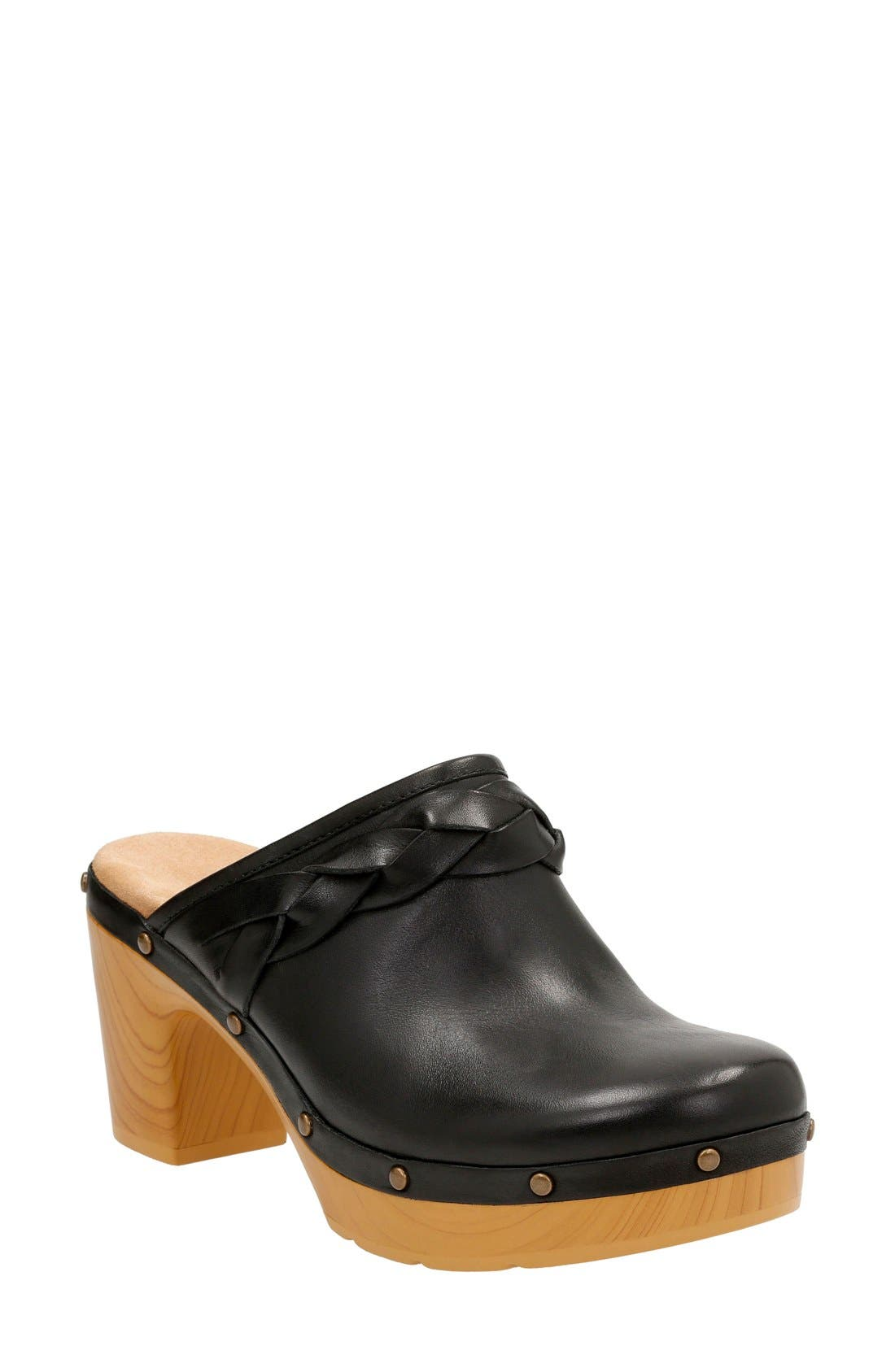 Ledella Meg Platform Clog,                             Main thumbnail 1, color,                             Black Leather