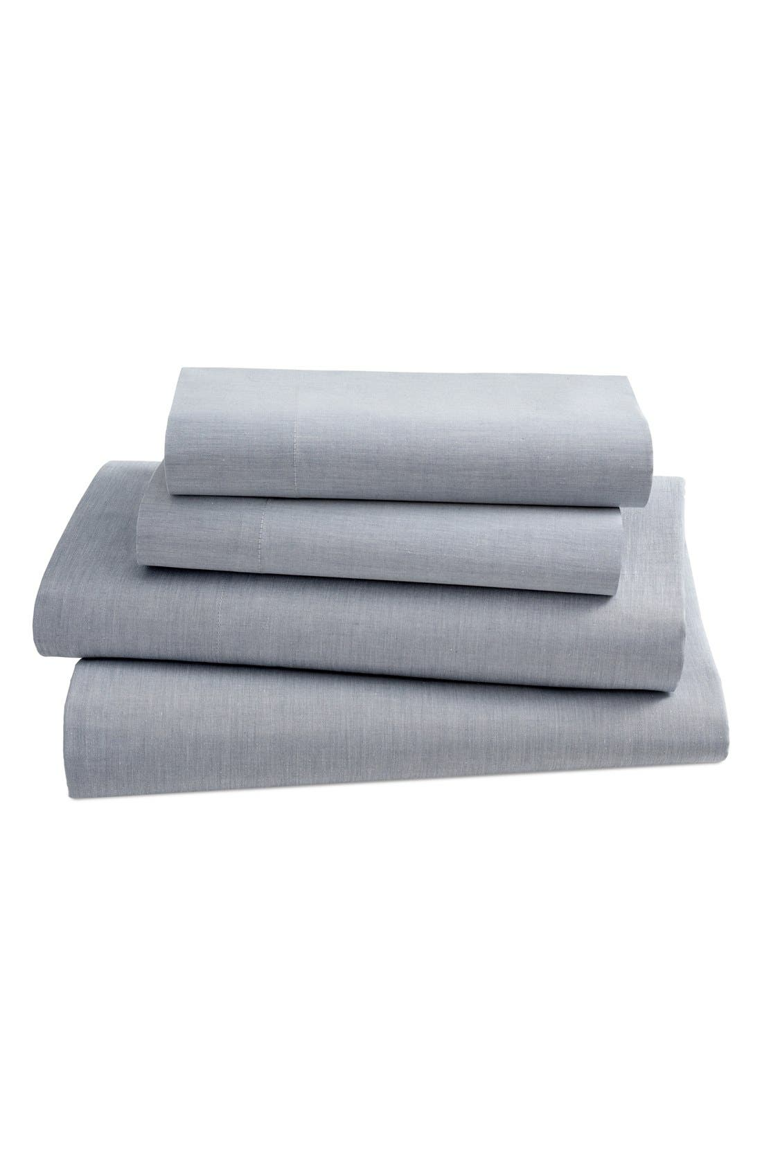 Ascott 200 Thread Count Fitted Sheet,                             Main thumbnail 1, color,                             Navy Solid
