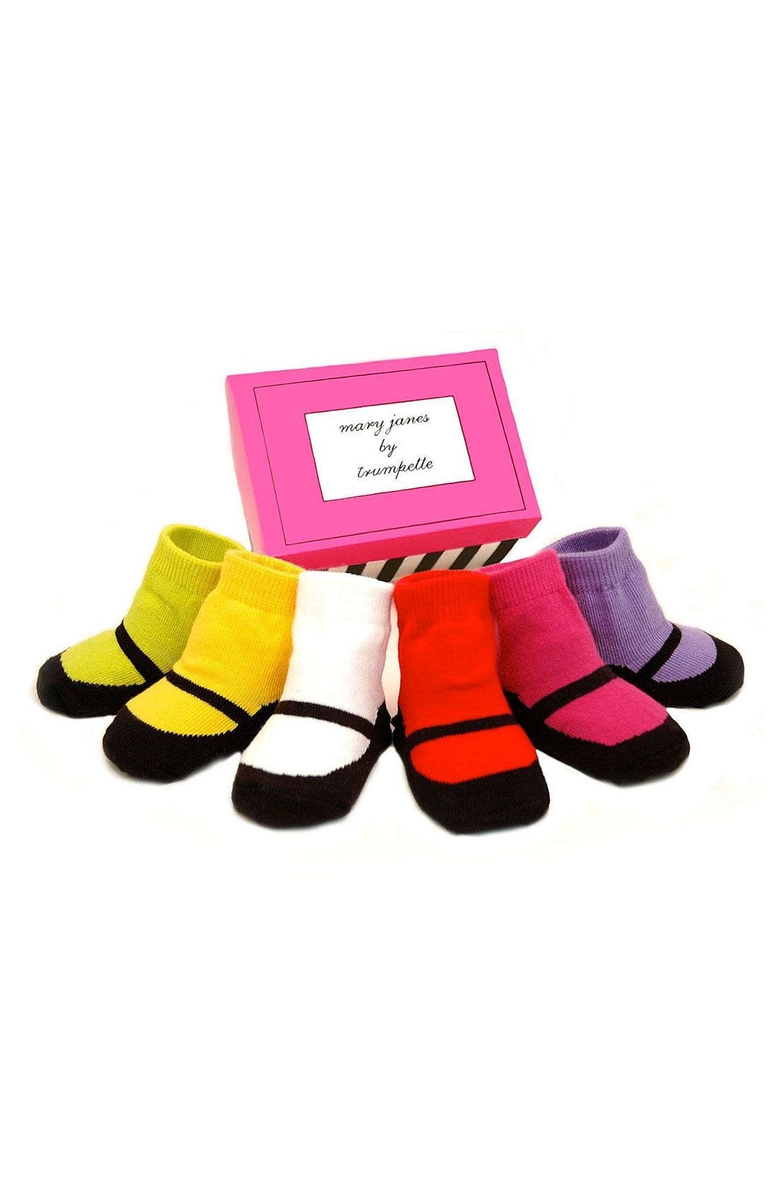 Alternate Image 1 Selected - Trumpette 'Mary Janes' Socks Gift Set (Baby Girls)