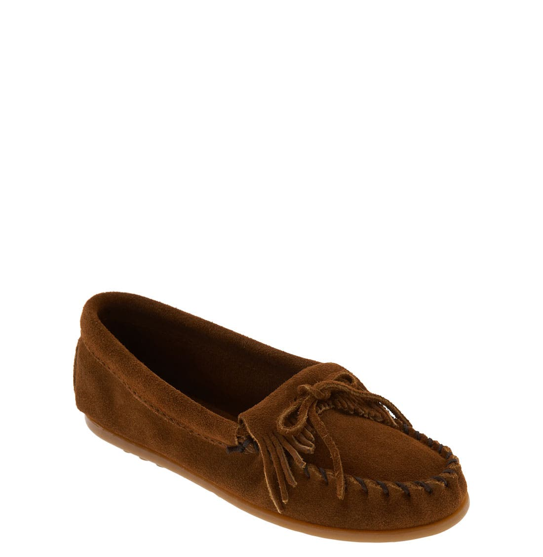 Alternate Image 1 Selected - Minnetonka Kiltie Moccasin (Walker, Toddler, Little Kid & Big Kid)
