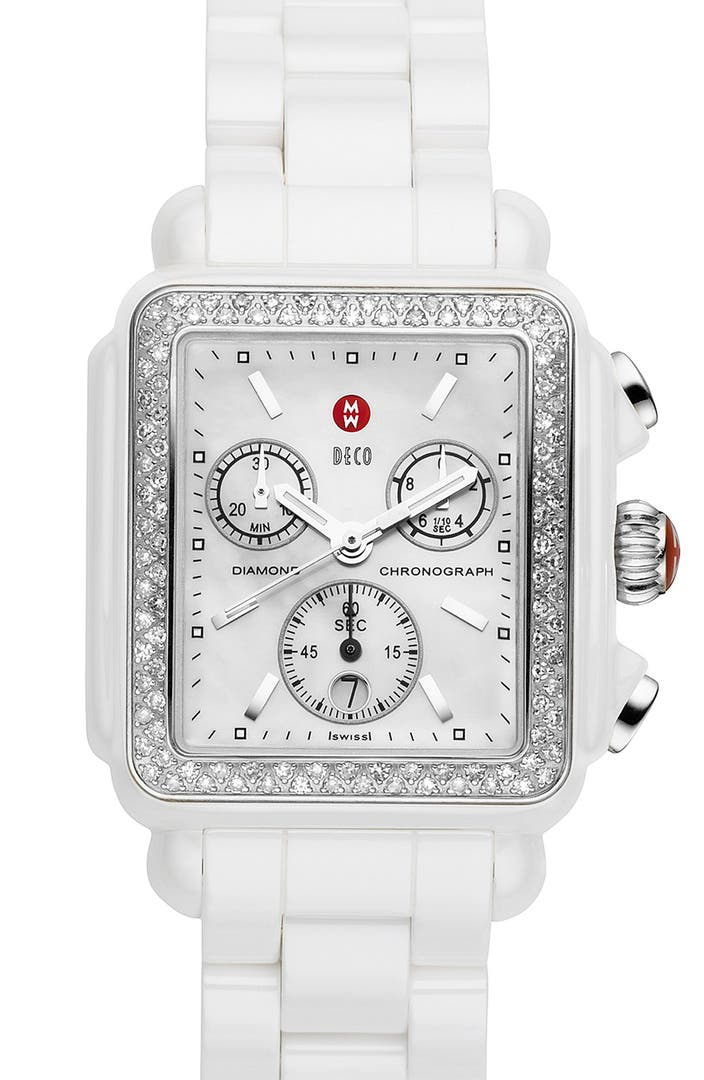 Michele Deco Diamond Ceramic Bracelet Watch 33mm X 46mm