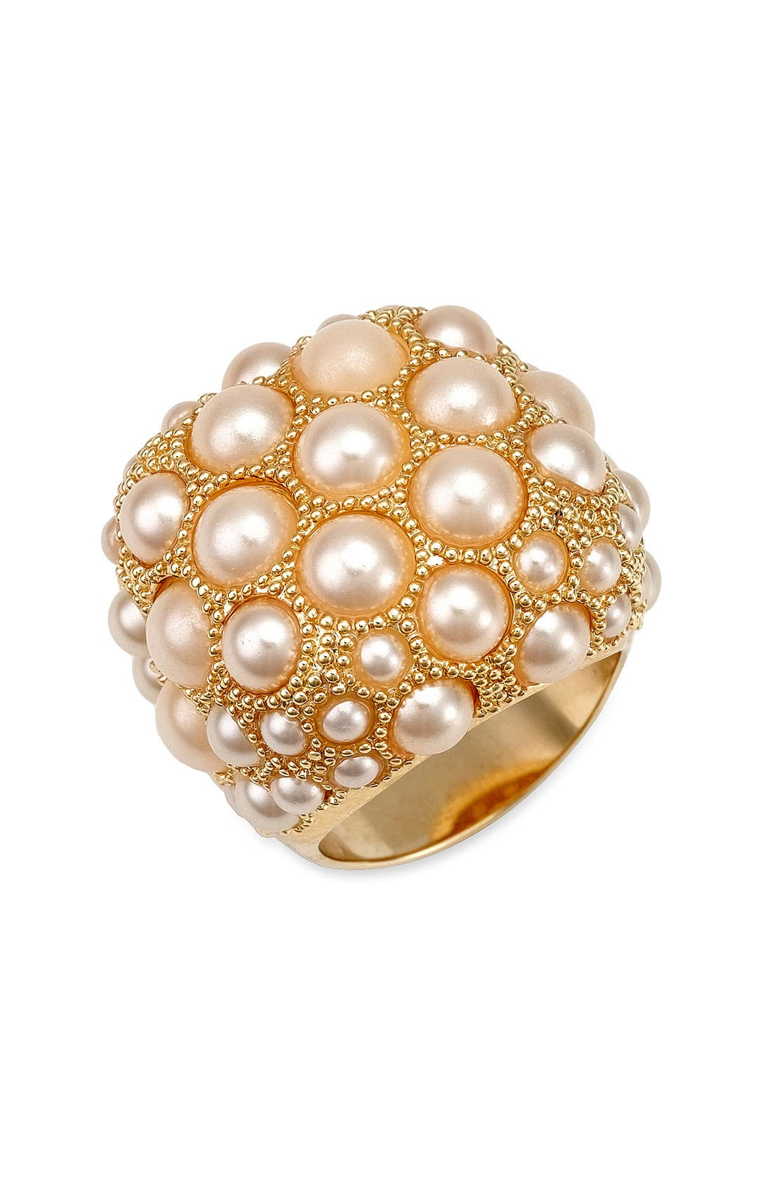 Main Image - Ariella Collection Faux Pearl Dome Adjustable Ring