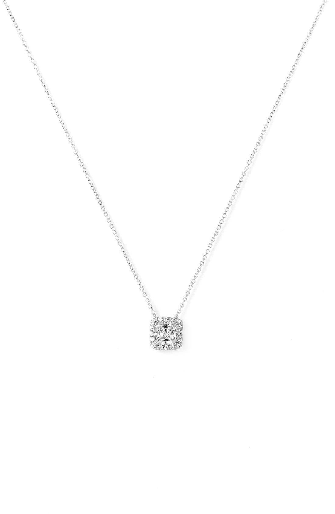 Main Image - Nordstrom Princess Cut Pavé Pendant Necklace
