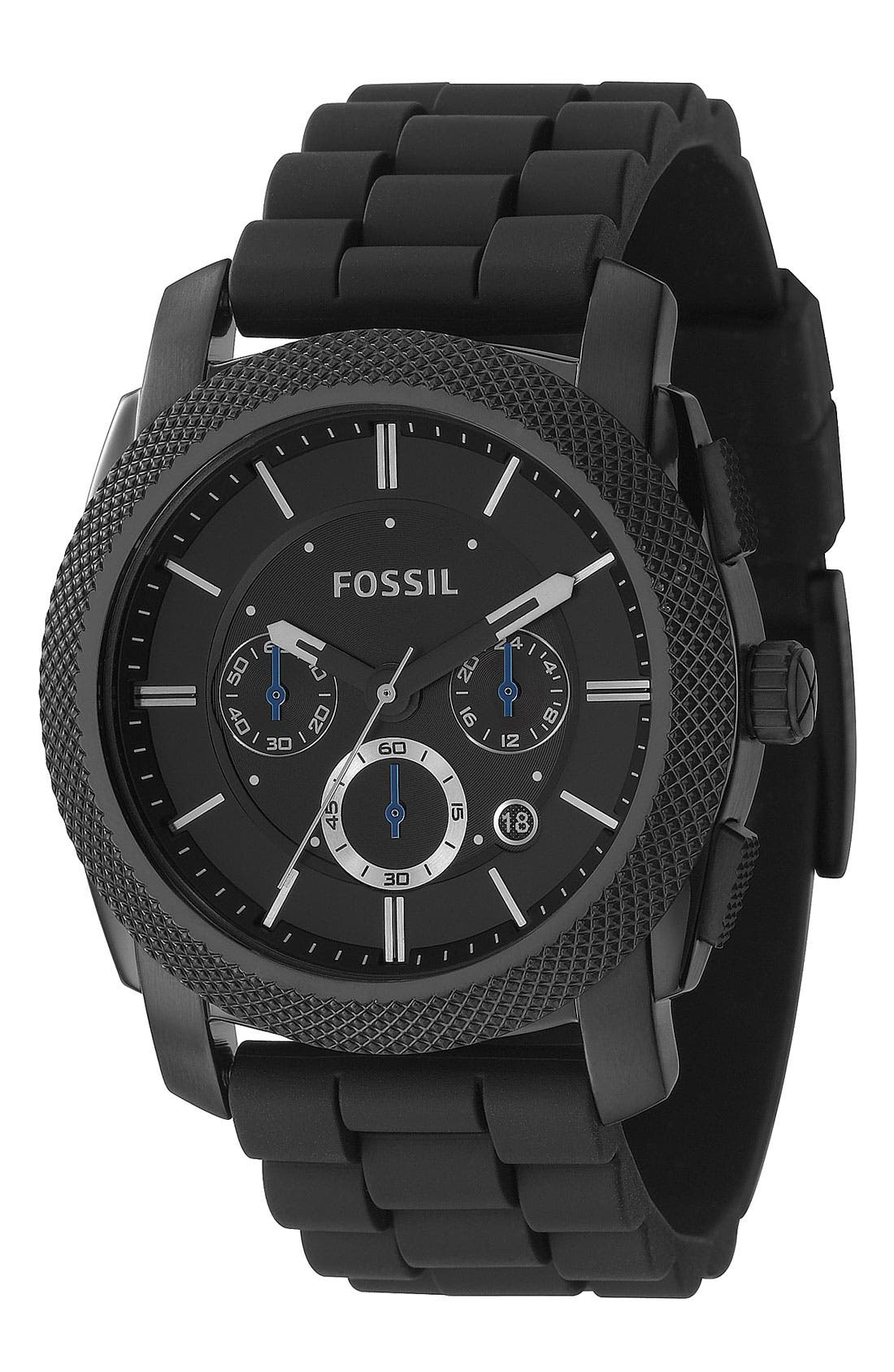 Alternate Image 1 Selected - Fossil 'Machine' Chronograph Silicone Strap Watch, 45mm