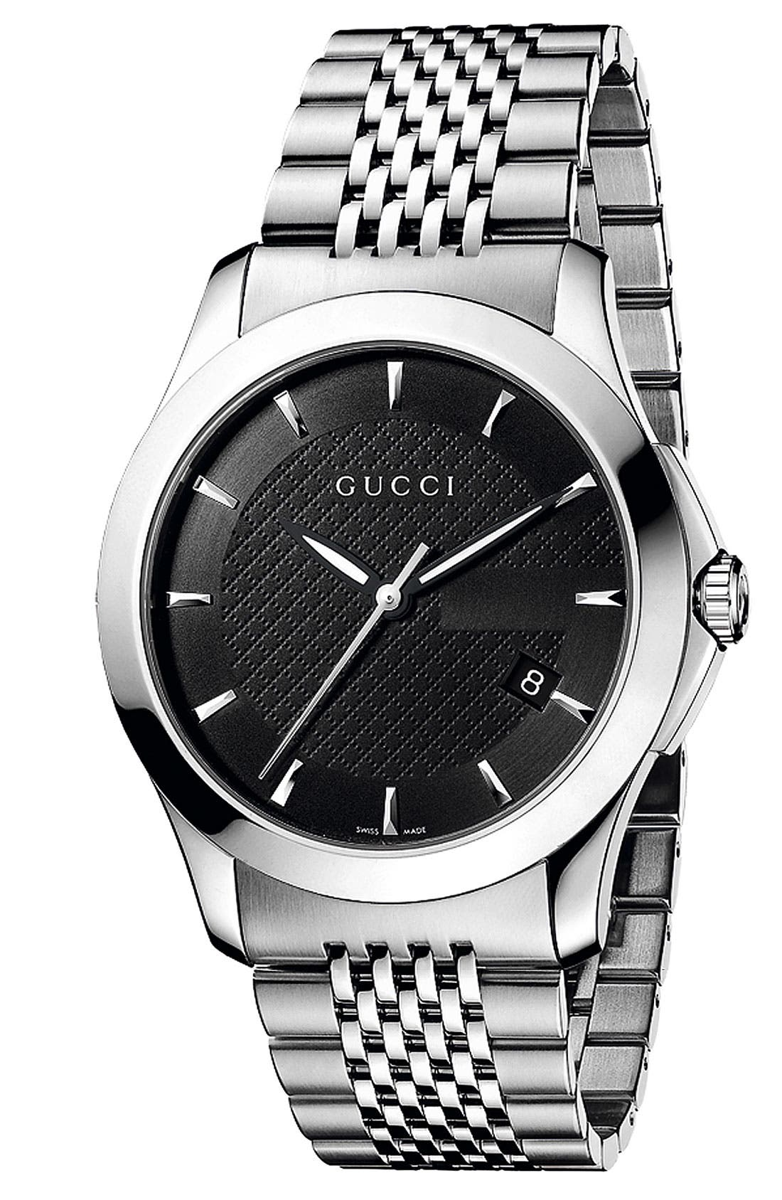 Alternate Image 1 Selected - Gucci 'G Timeless' Stainless Steel Bracelet Watch, 38mm
