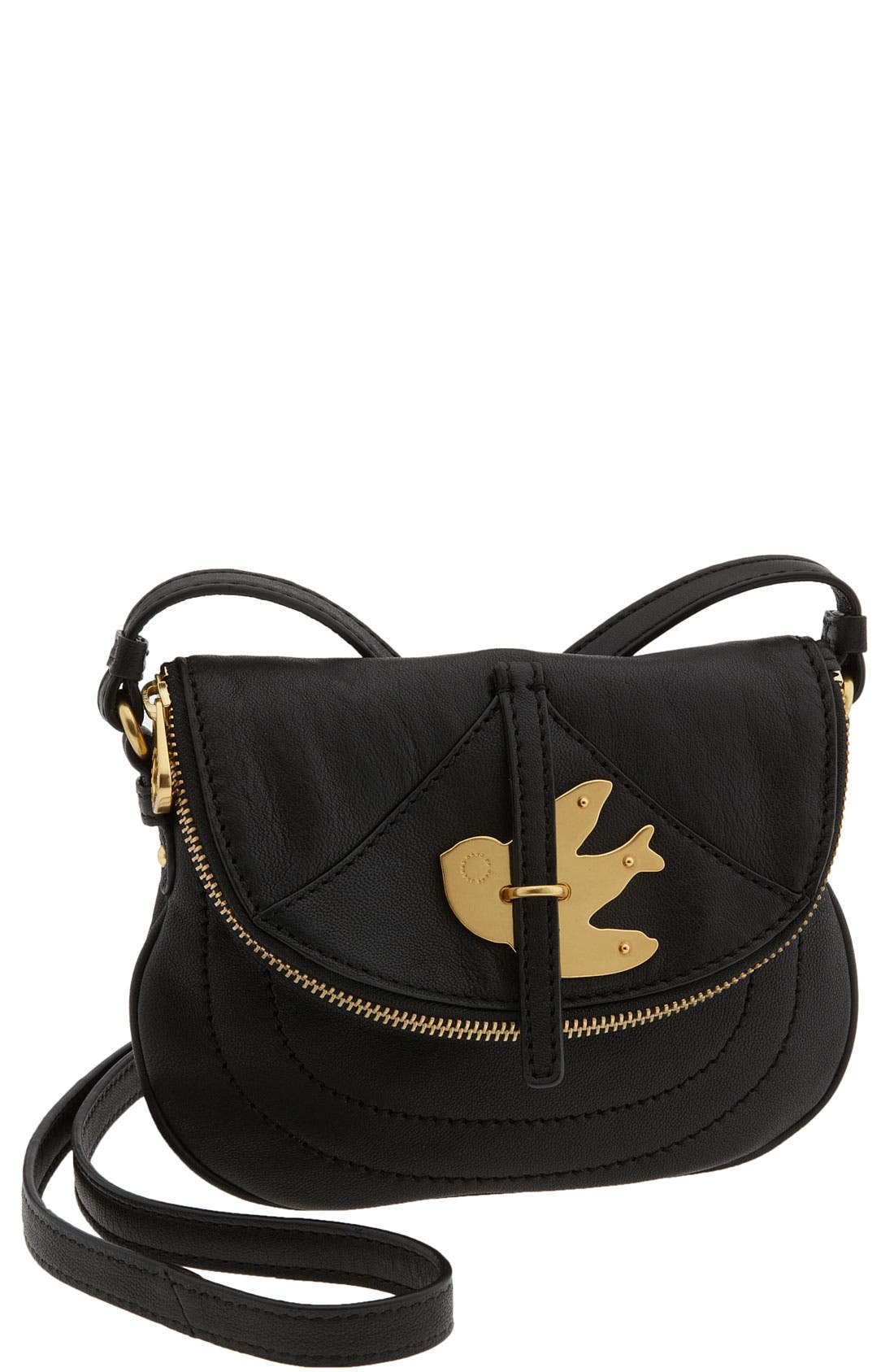 MARC BY MARC JACOBS 'Petal to the Metal' Flap Pouchette,                             Main thumbnail 1, color,                             Black