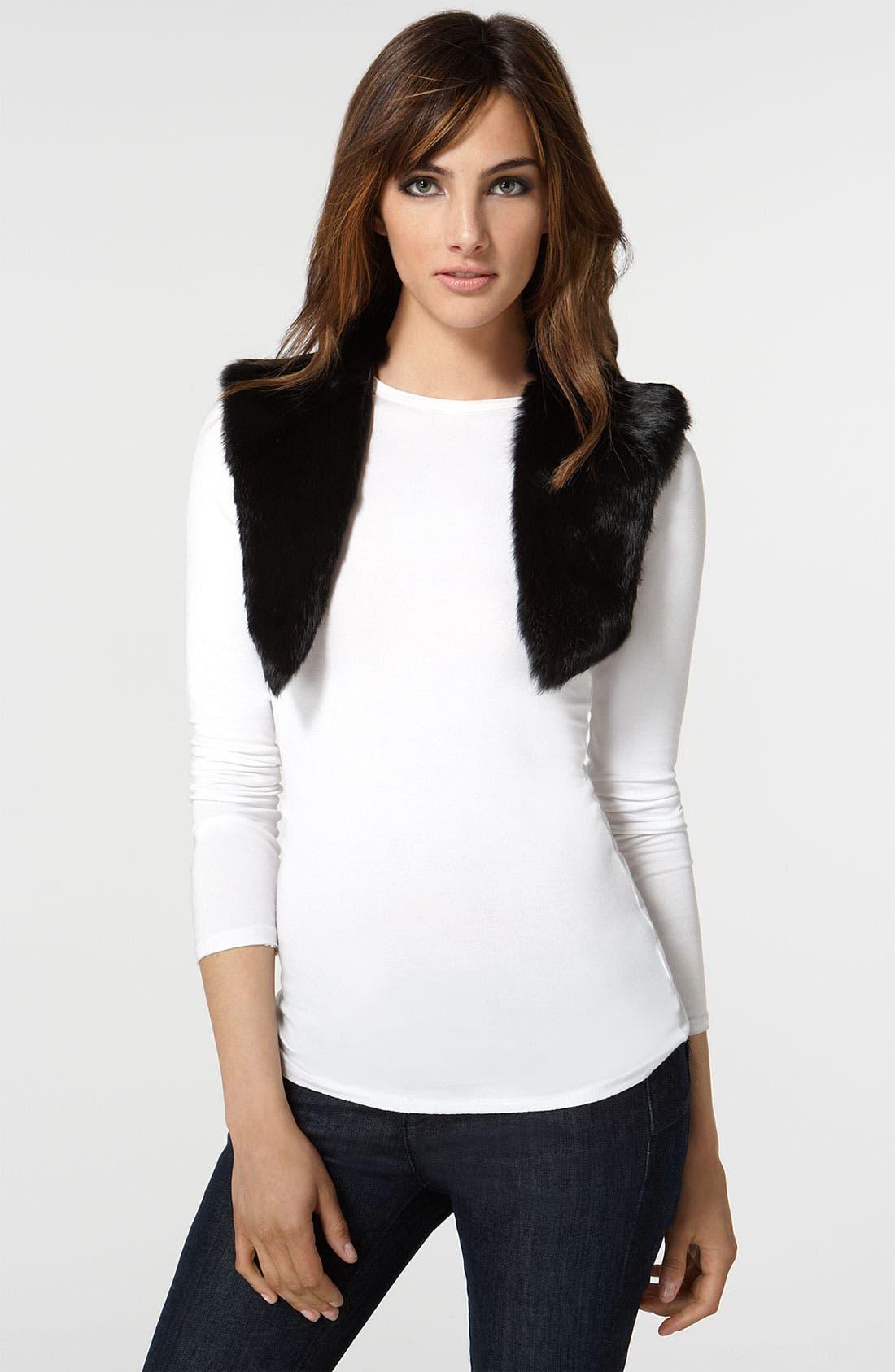 'Nicola' Coat with Removable Genuine Rabbit Fur Vest,                             Alternate thumbnail 2, color,                              Black