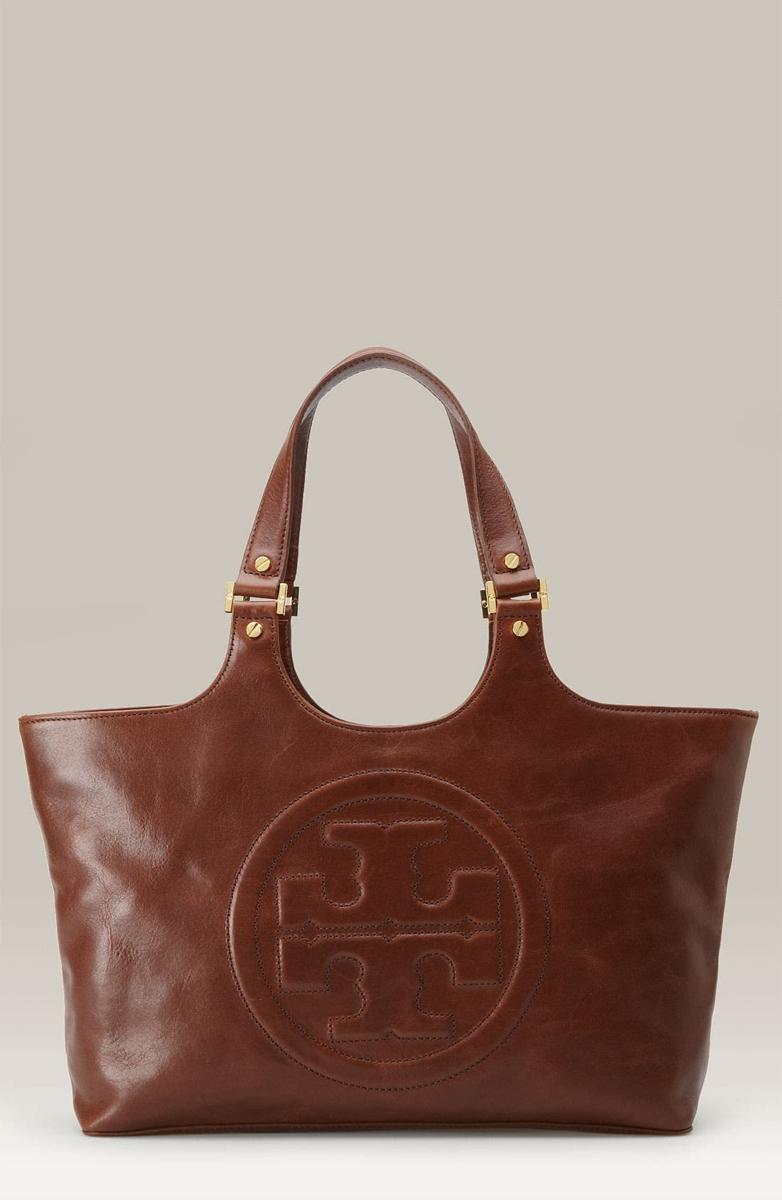 'Bombe' Glazed Leather Tote,                             Main thumbnail 1, color,                             Chocolate