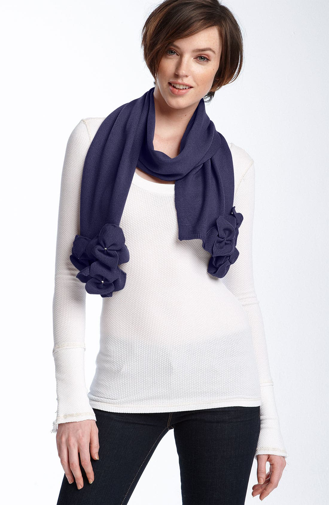 Knit Flower Wool Scarf,                         Main,                         color, Ink Blue