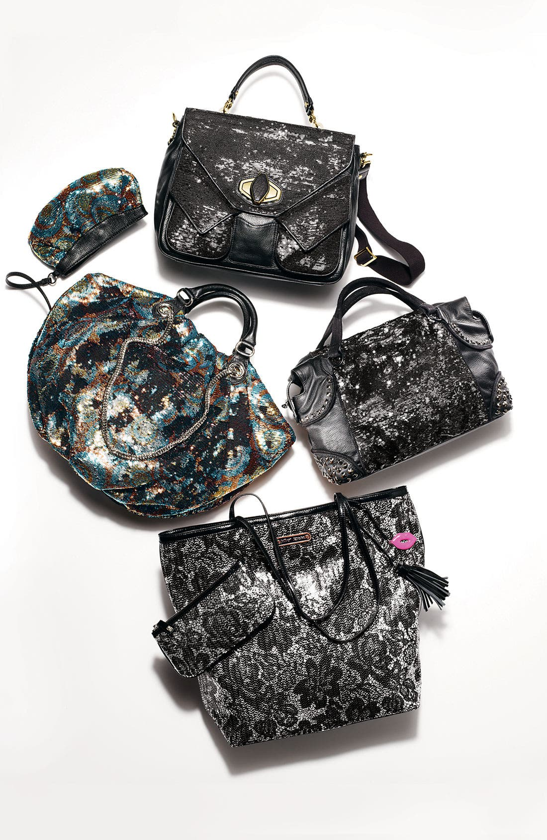 Alternate Image 2  - BCBGMAXAZRIA Reversible Sequin Faux Leather Satchel