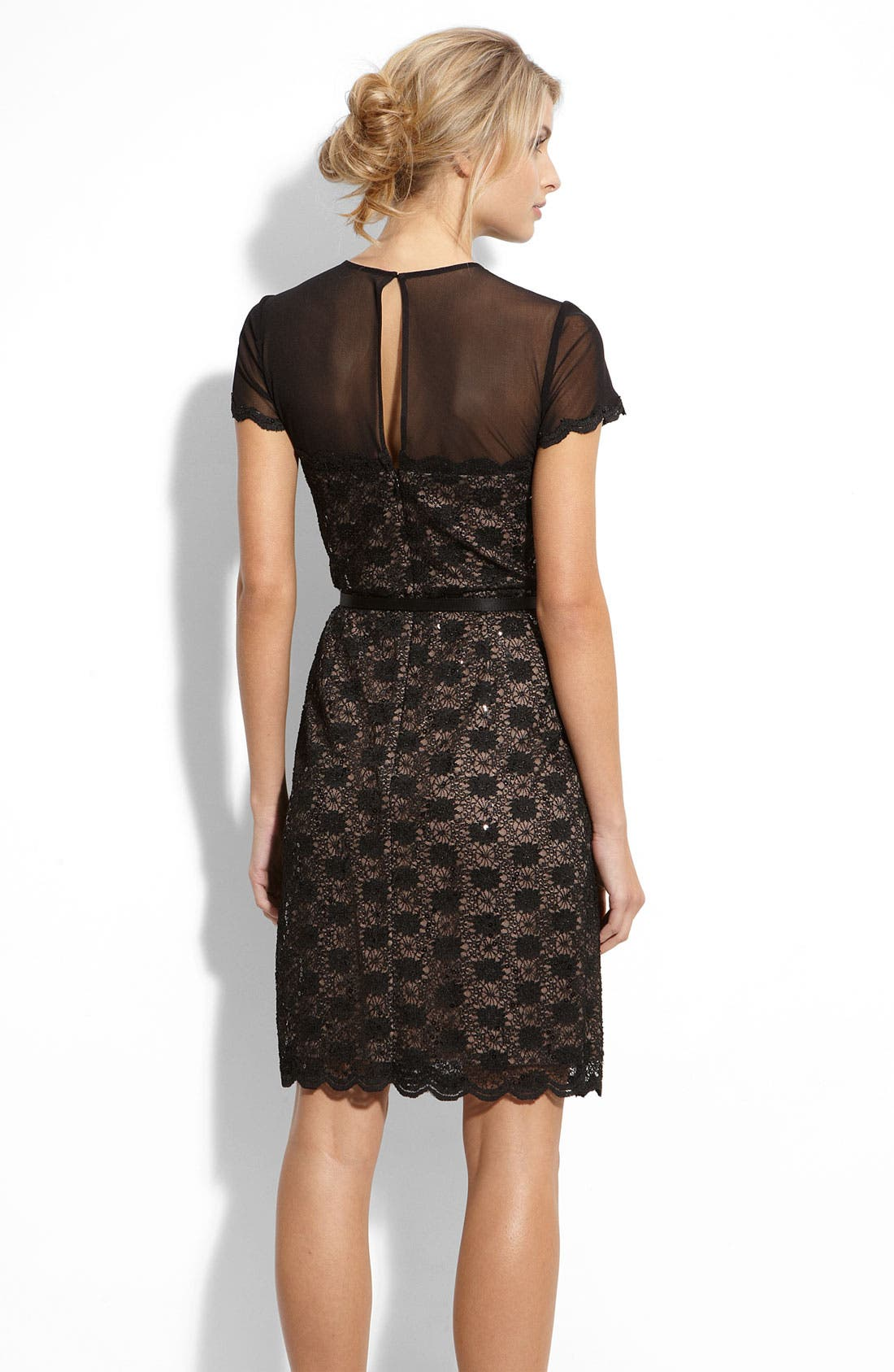 Alternate Image 2  - Alex Evenings Illusion Bodice Lace Sheath Dress