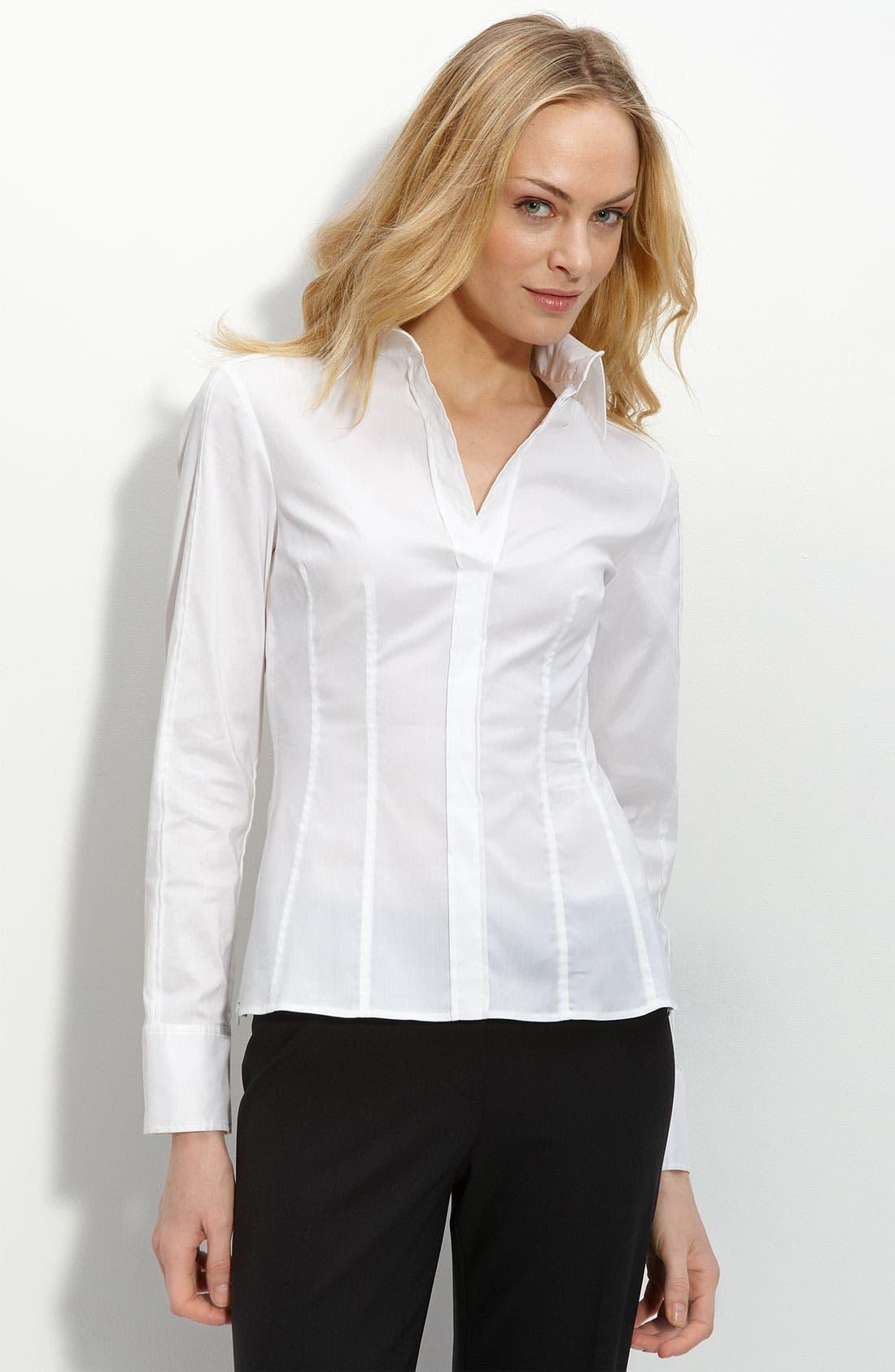 'Bashina' Fitted Cotton Blend V-Neck Blouse,                         Main,                         color, White