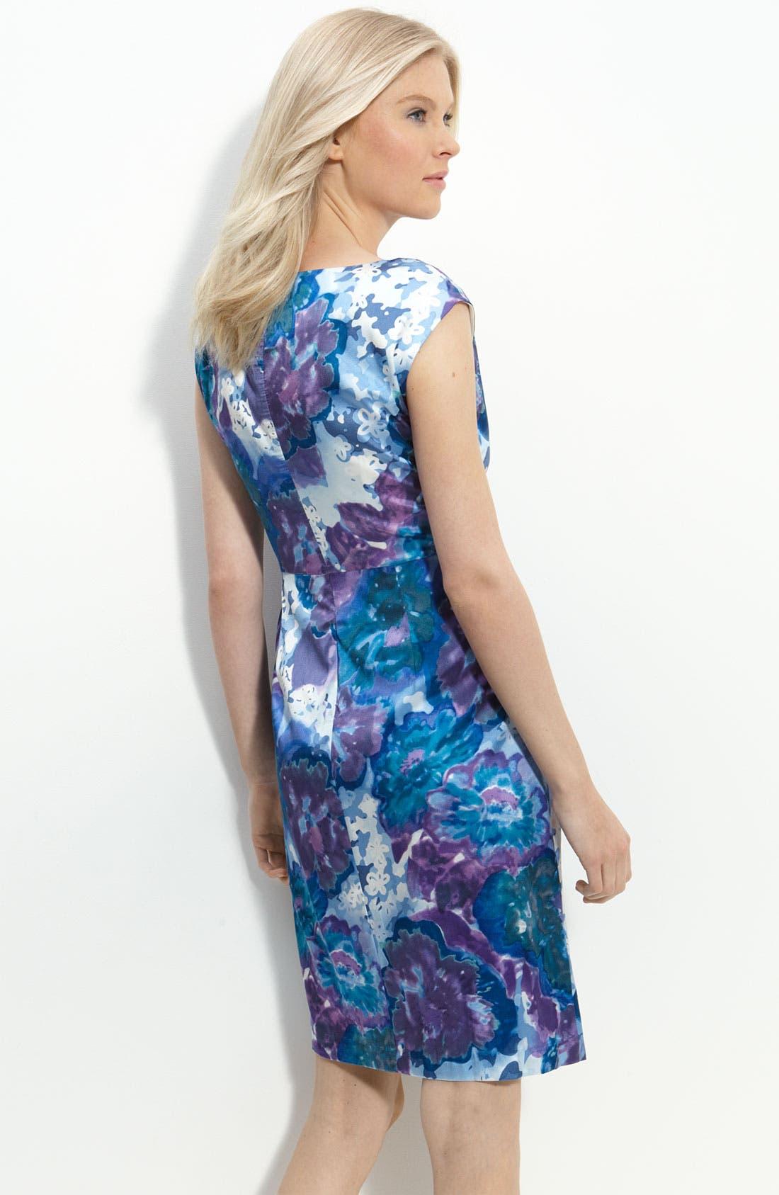 Pleated Stretch Satin Sheath Dress,                             Alternate thumbnail 2, color,                             Blue Slate Multi