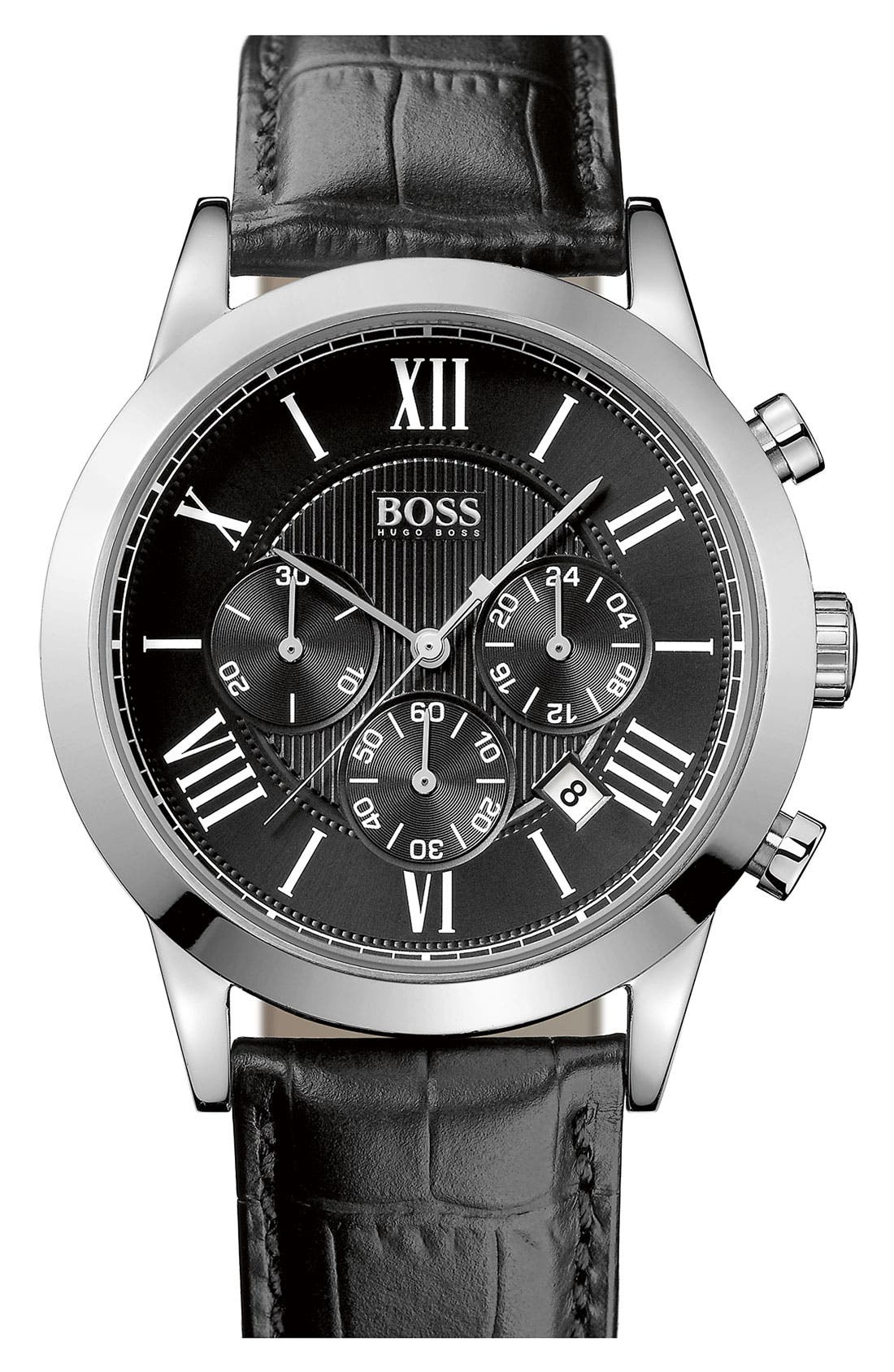 Alternate Image 1 Selected - BOSS Leather Strap Round Chronograph Watch, 43mm