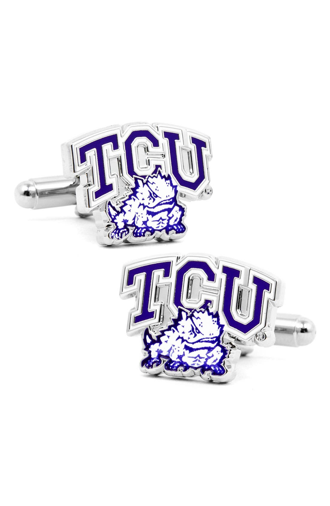 'TCU Horned Frogs' Cuff Links,                         Main,                         color, Purple/ White