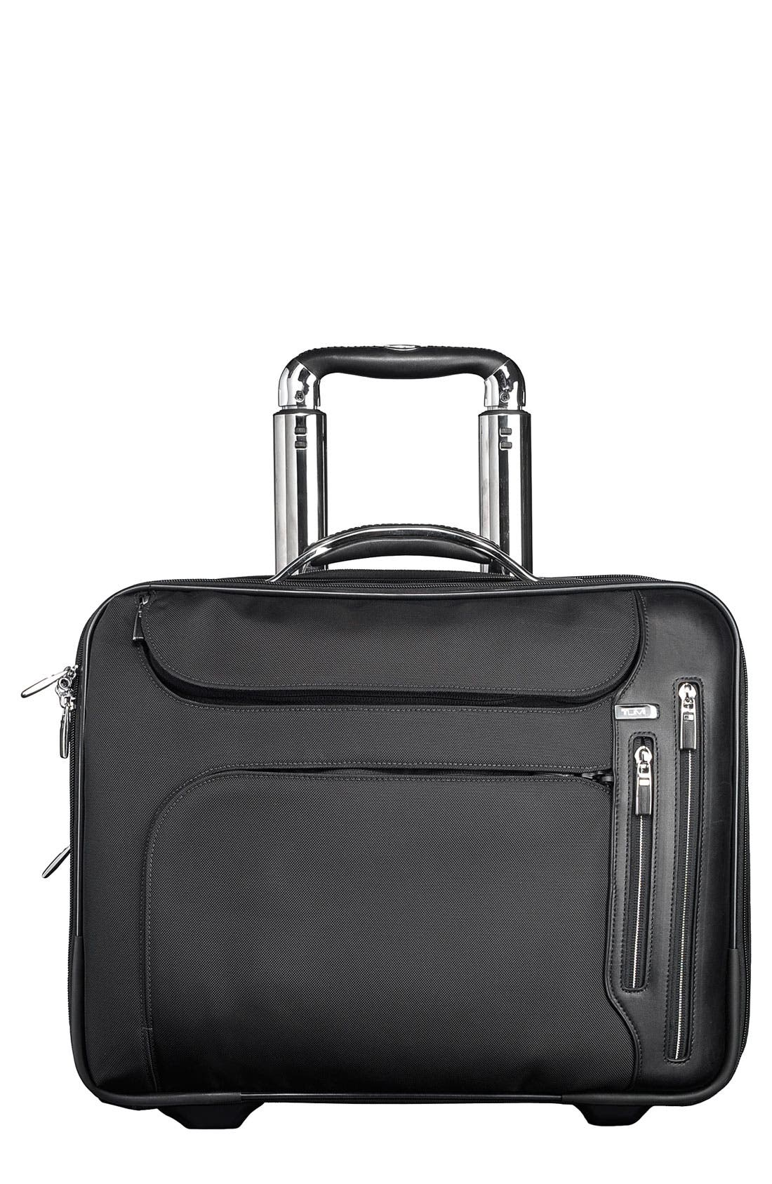'Arrive - LaGuardia' Wheeled Briefcase with Laptop Insert,                             Main thumbnail 1, color,                             Black