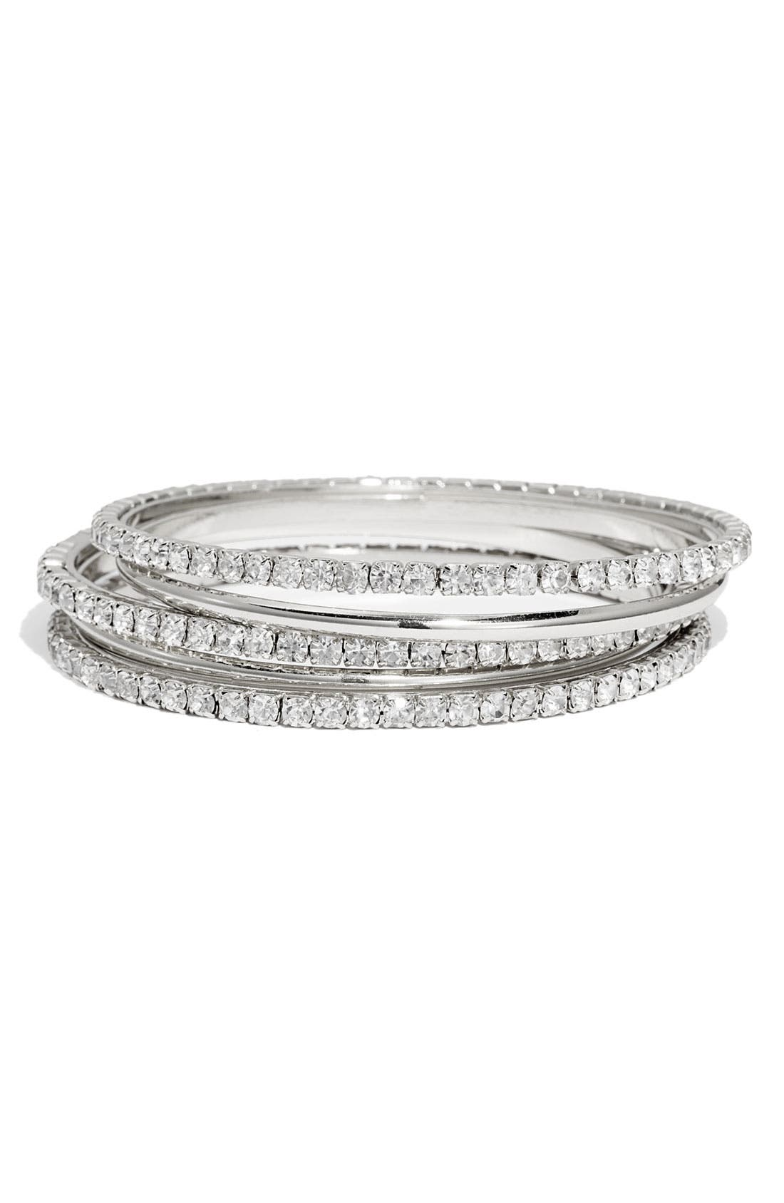 Alternate Image 1 Selected - Nordstrom Crystal & Smooth Bangles (Set of 5)
