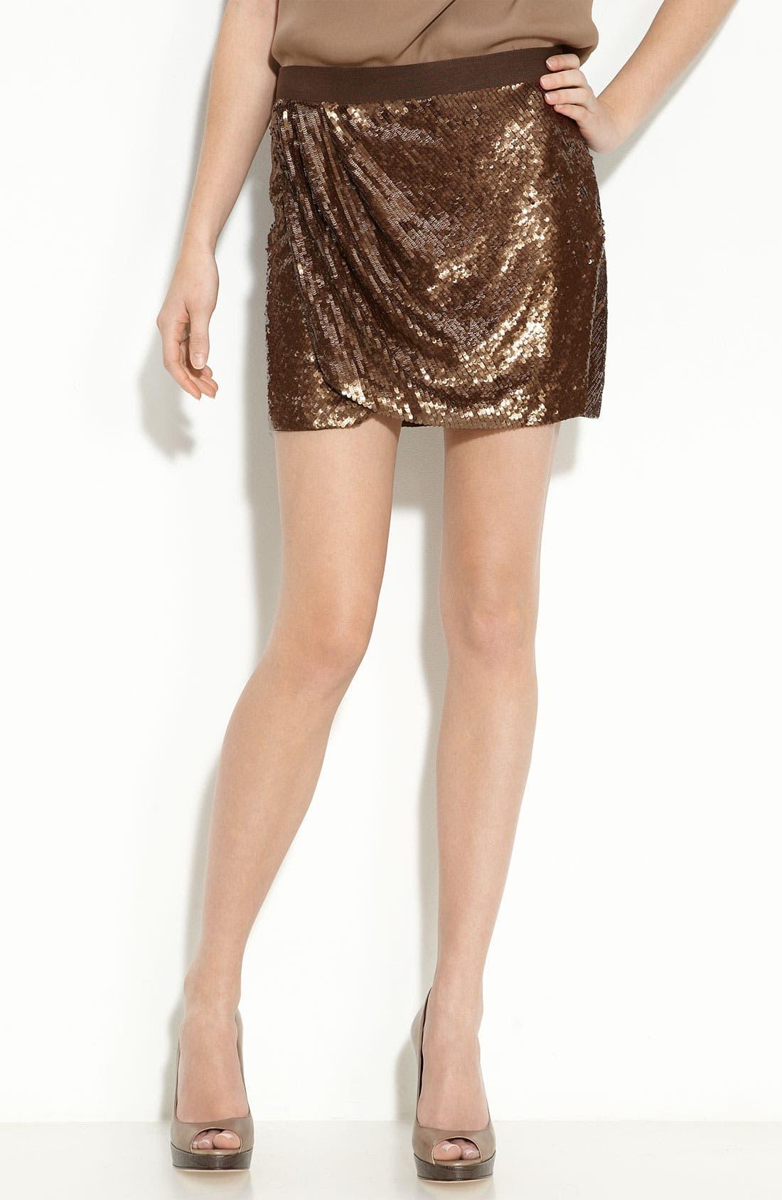 Main Image - Haute Hippie Sequin Faux Wrap Miniskirt
