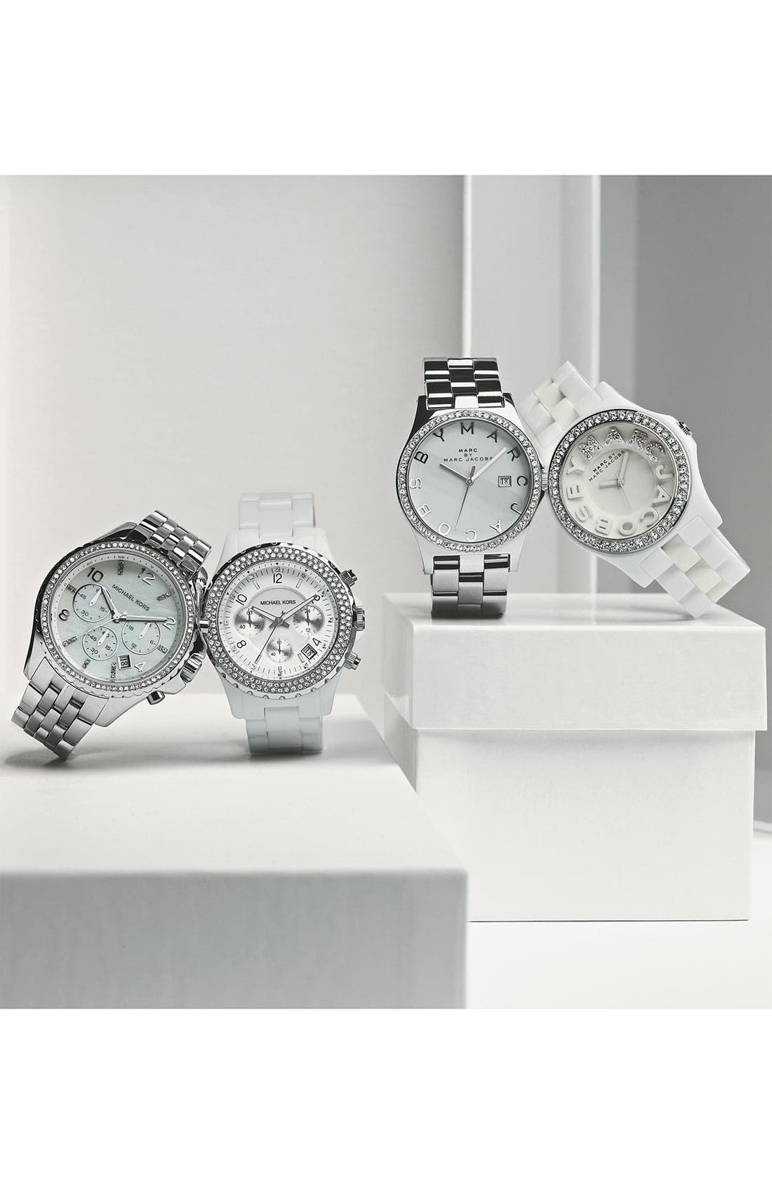 Michael Kors 'Madison' Twin Row Crystal Chronograph Watch, 42mm,                             Alternate thumbnail 3, color,                             Silver/ White