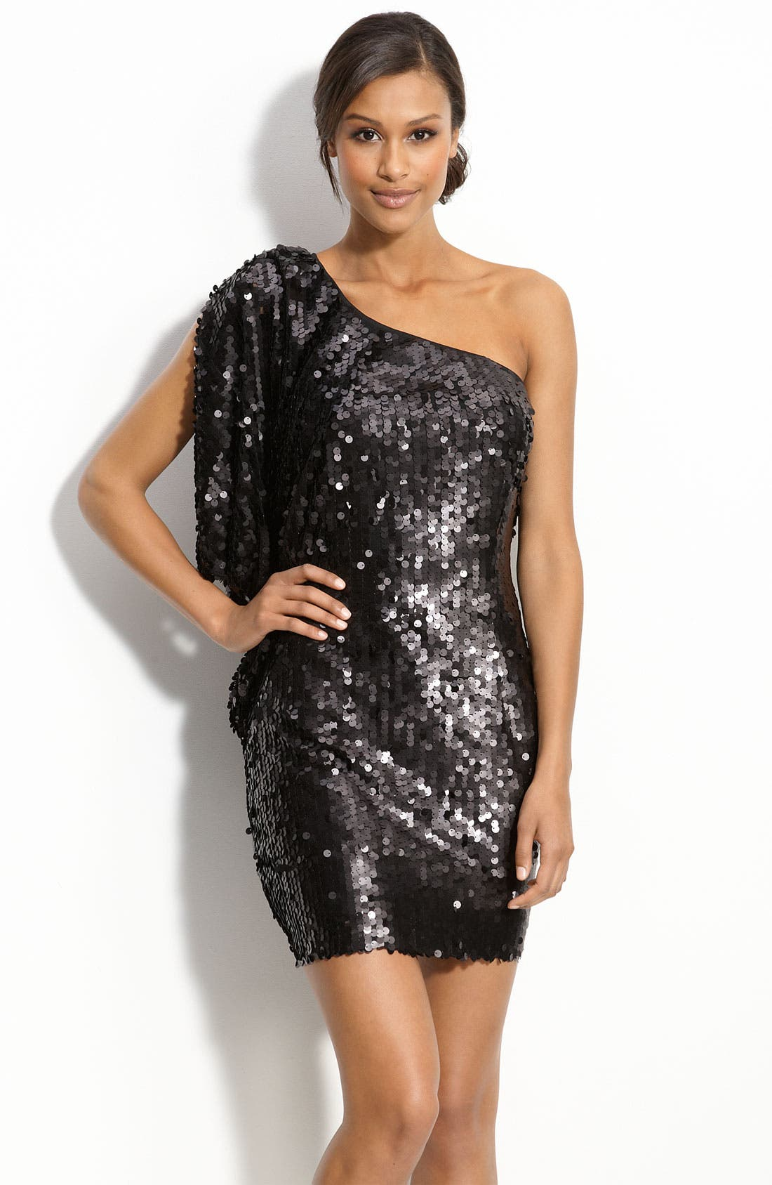 Alternate Image 1 Selected - Aidan by Aidan Mattox Matte Sequin One Shoulder Dress