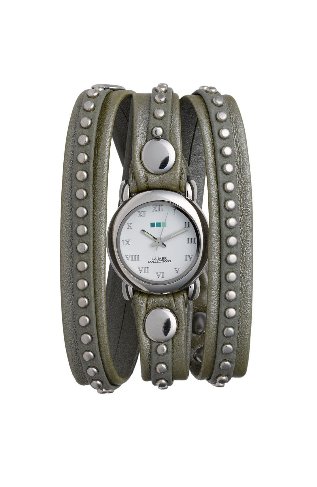 Main Image - La Mer Collections 'Bali' Gold Studded Leather Wrap Watch