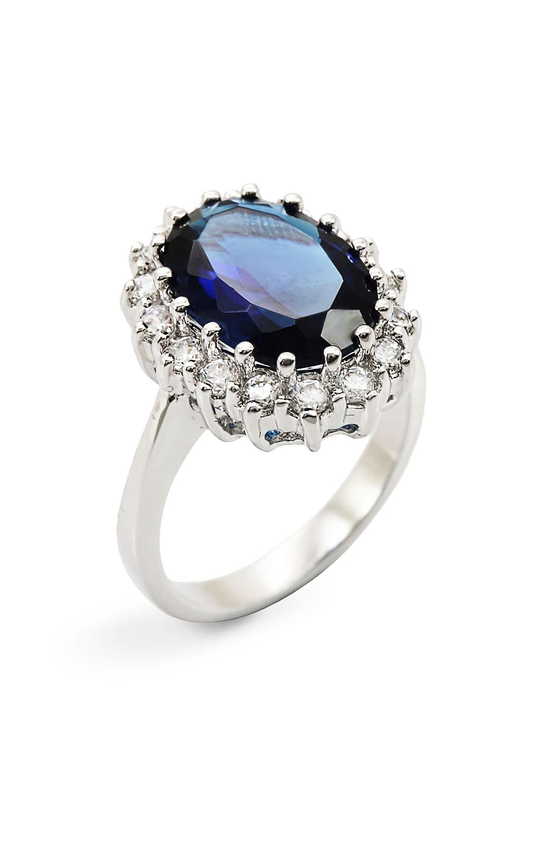 Alternate Image 2  - Ariella Collection Blue Stone & Cubic Zirconia Oval Ring