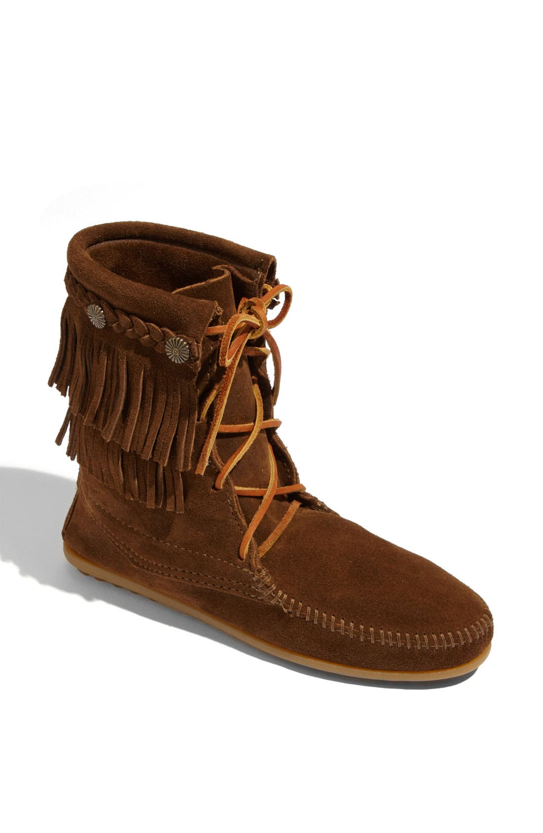 'Tramper' Double Fringe Moccasin Boot,                             Main thumbnail 1, color,                             Dusty Brown