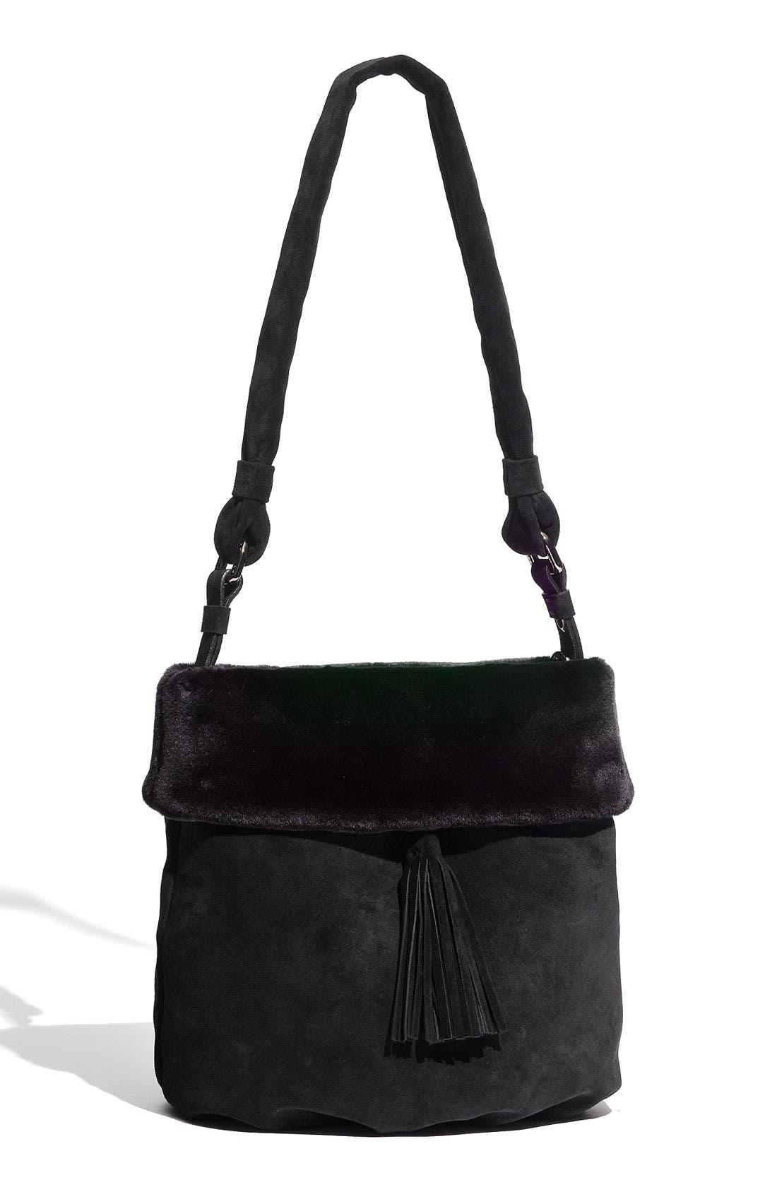 Main Image - Stuart Weitzman Faux Fur Trim Shoulder Bag