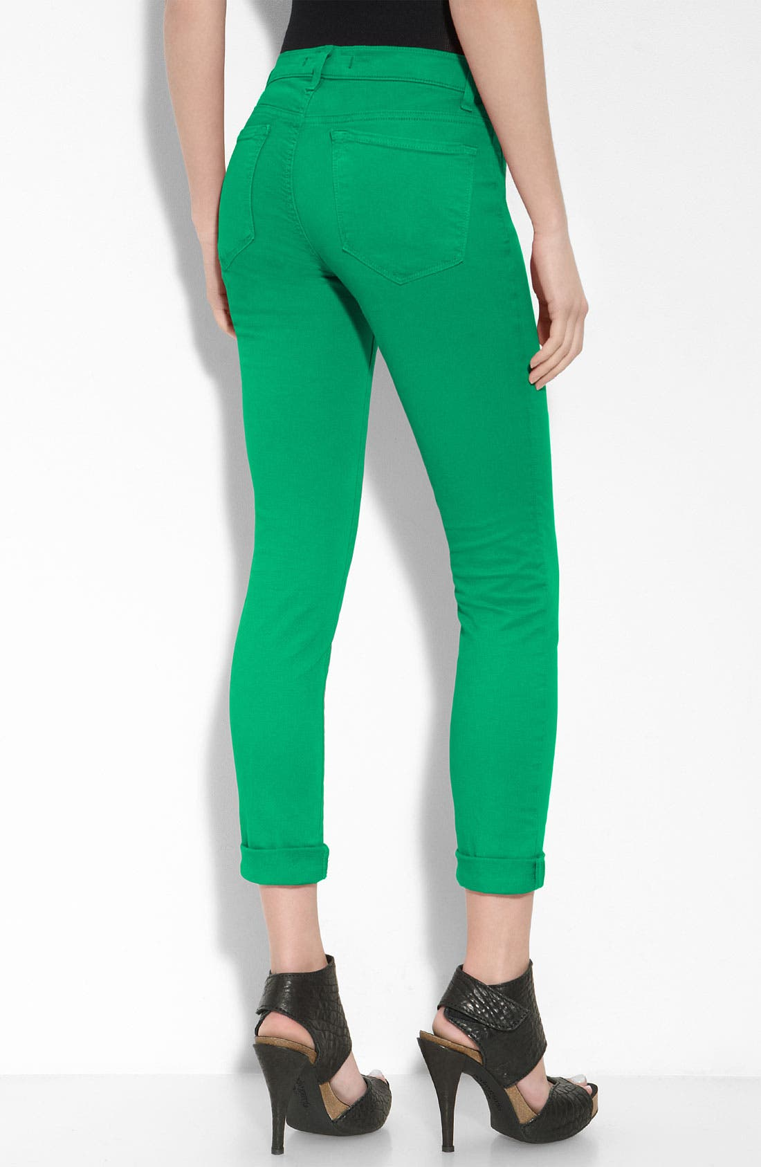 Skinny Stretch Twill Pants,                         Main,                         color, Emerald Green