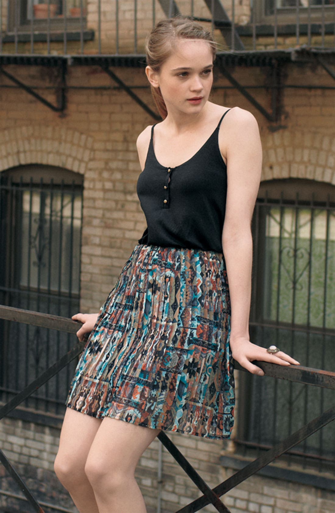 Alternate Image 2  - Pleat Skirt Camisole Dress