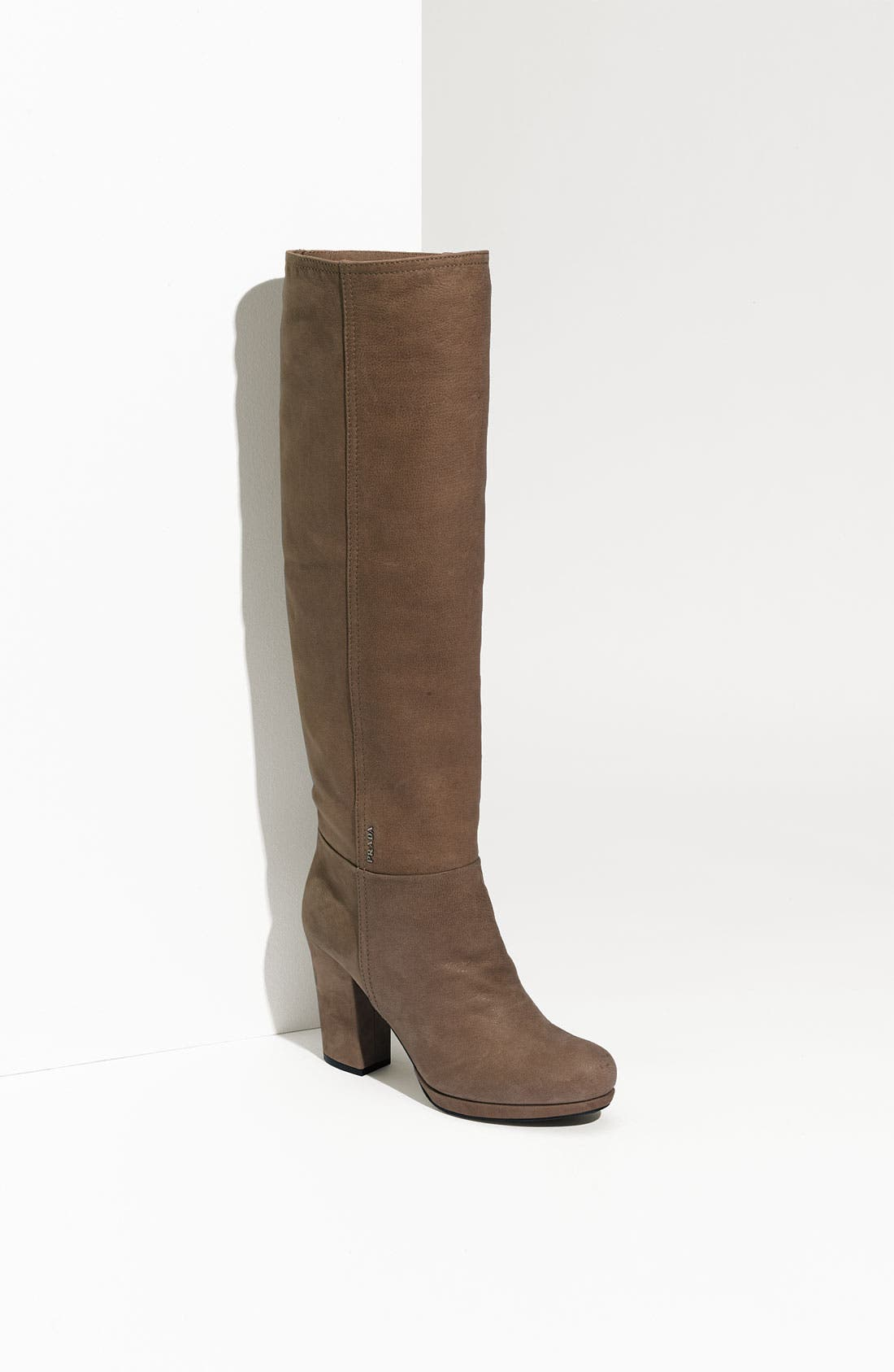 Leather Tall Boot,                         Main,                         color, Mogano