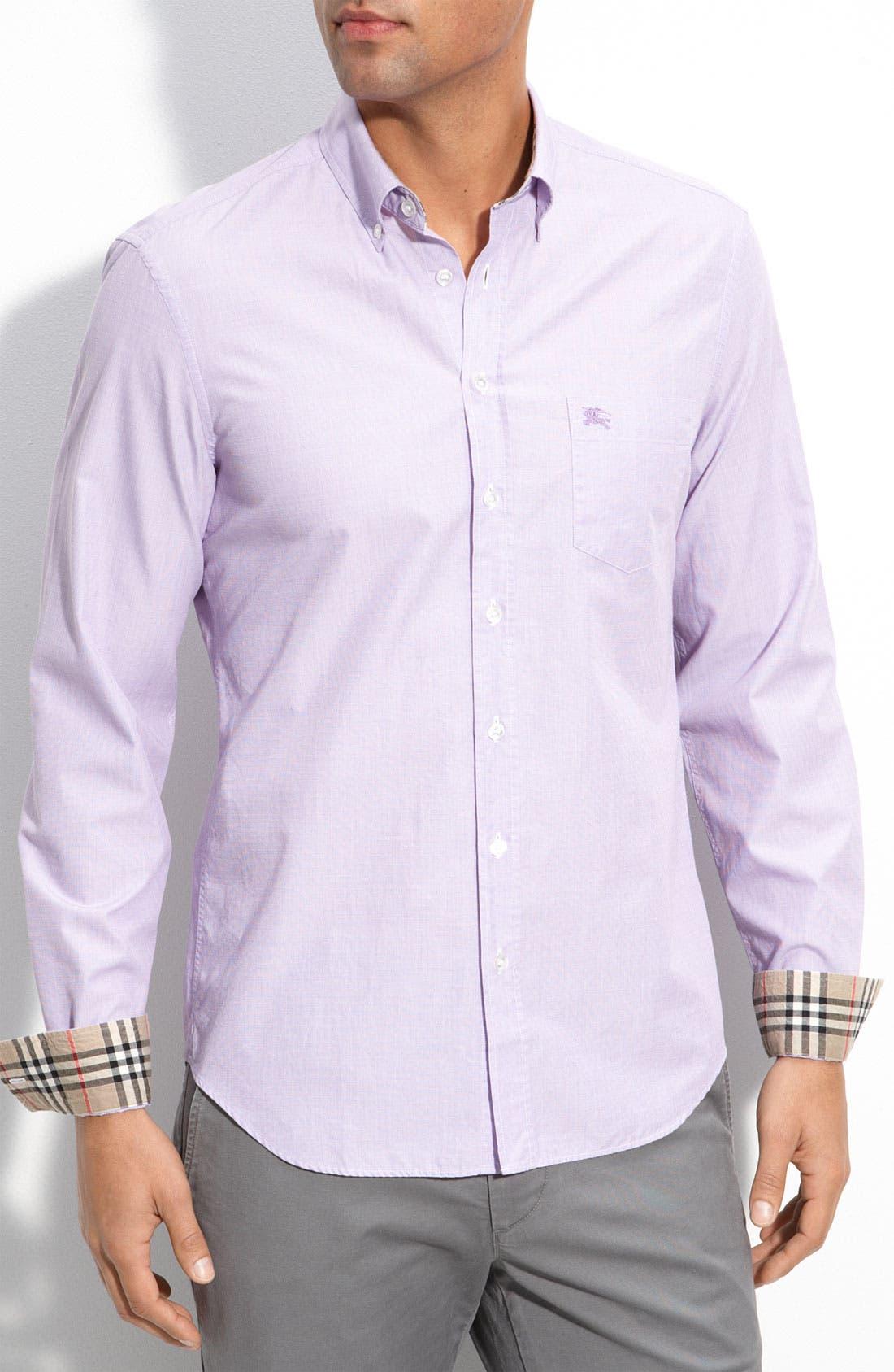 Alternate Image 1 Selected - Burberry Brit Woven Trim Fit Sport Shirt