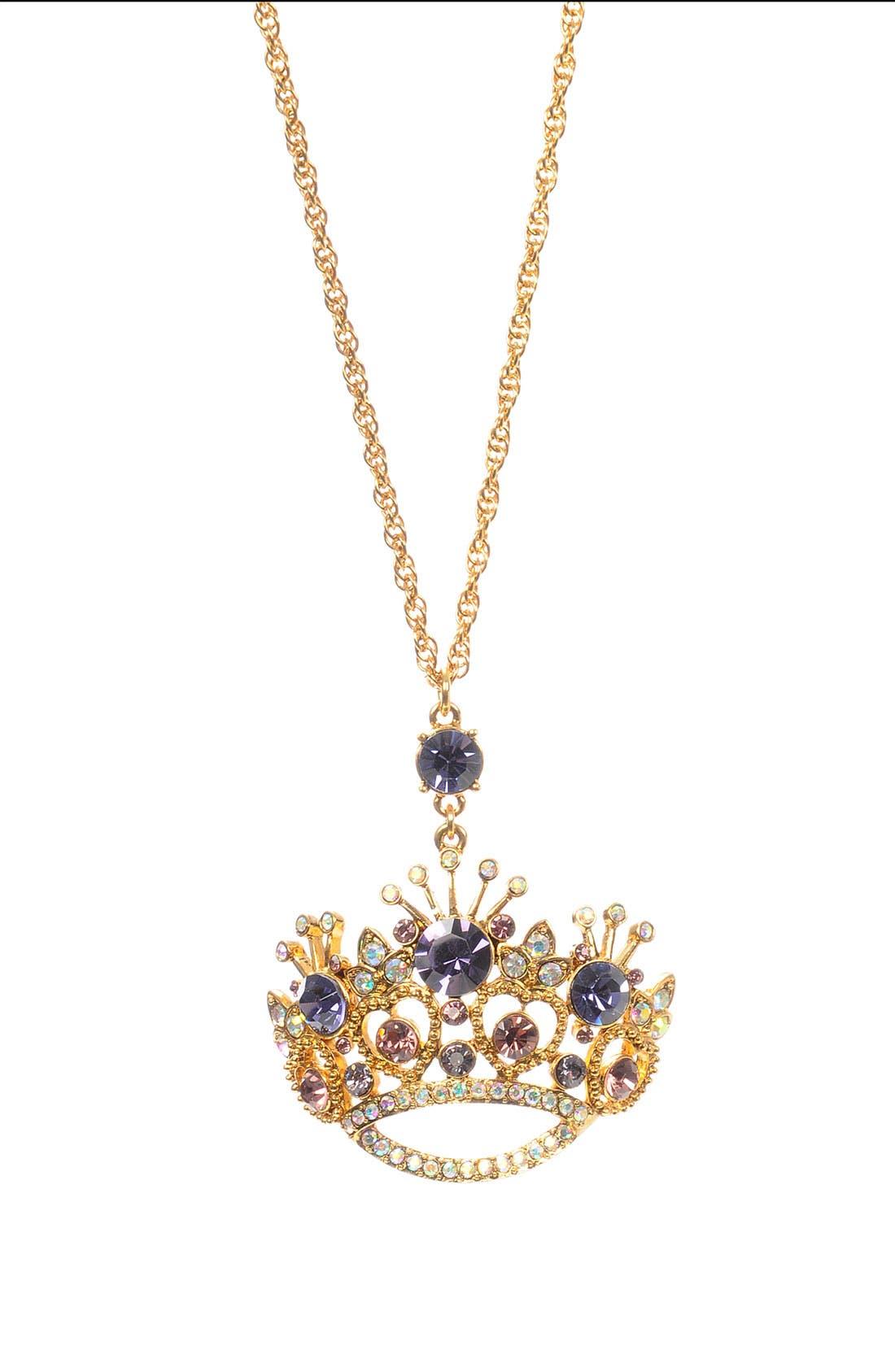 Alternate Image 1 Selected - Betsey Johnson 'Tzar' Crown Statement Pendant Long Necklace