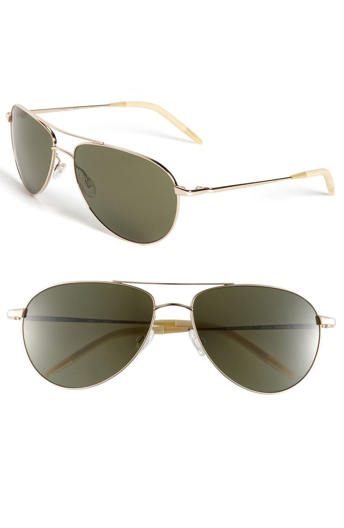 'Benedict' 59mm Aviator Sunglasses,                         Main,                         color, Gold/ Mineral Glass