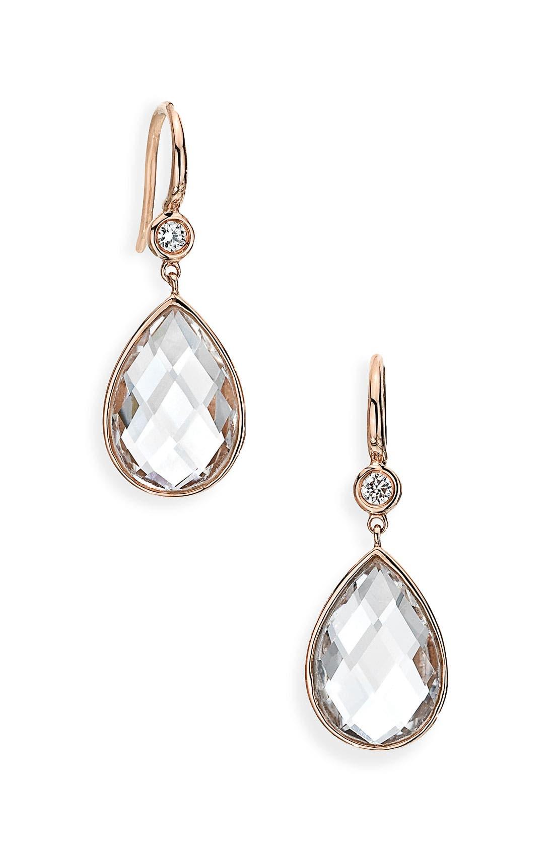 Alternate Image 1 Selected - Ivanka Trump 'Mixed Cut' Diamond & Rock Crystal Drop Earrings