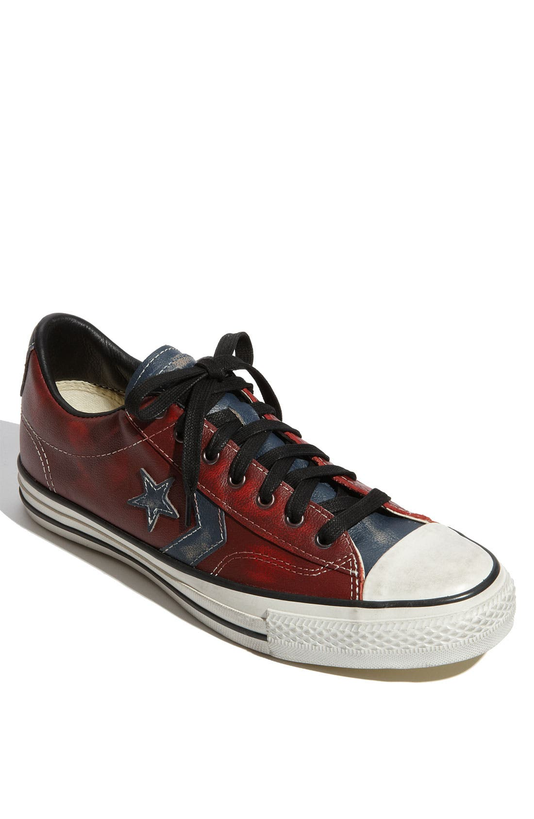 'Star Player' Leather Sneaker,                             Main thumbnail 1, color,                             Red / Blue