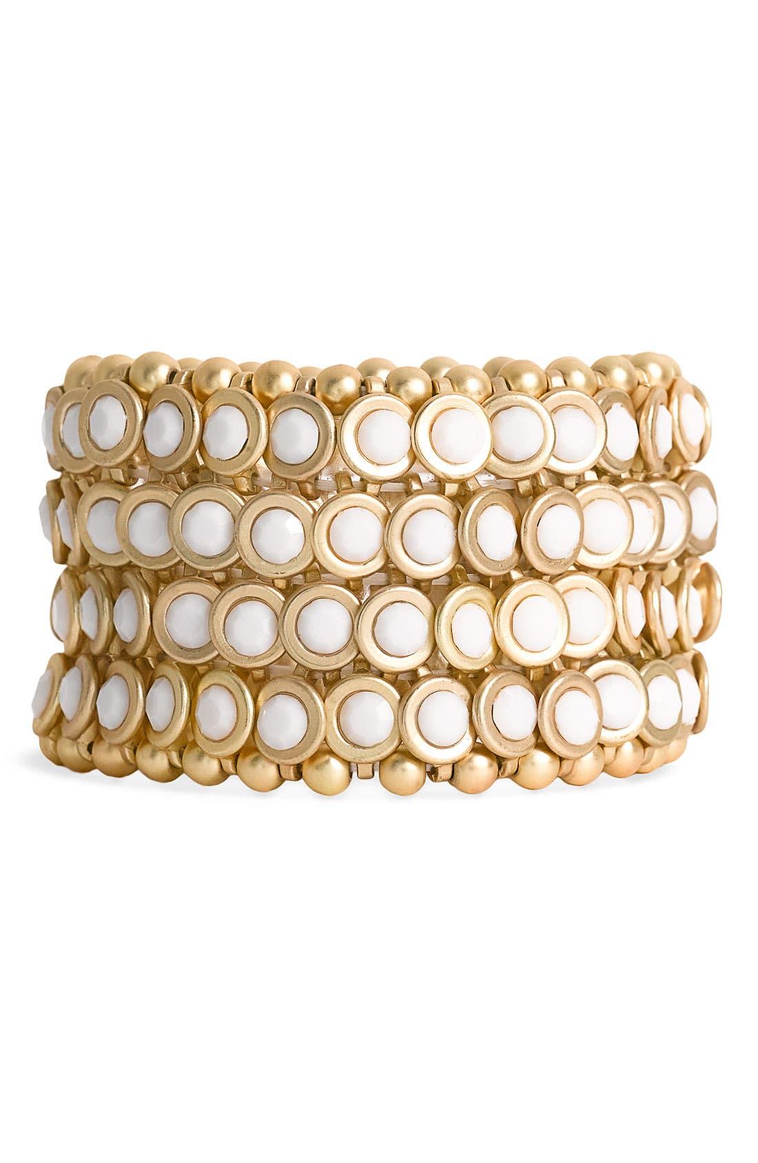Main Image - Tasha Bezel Set Stone Stretch Bracelet