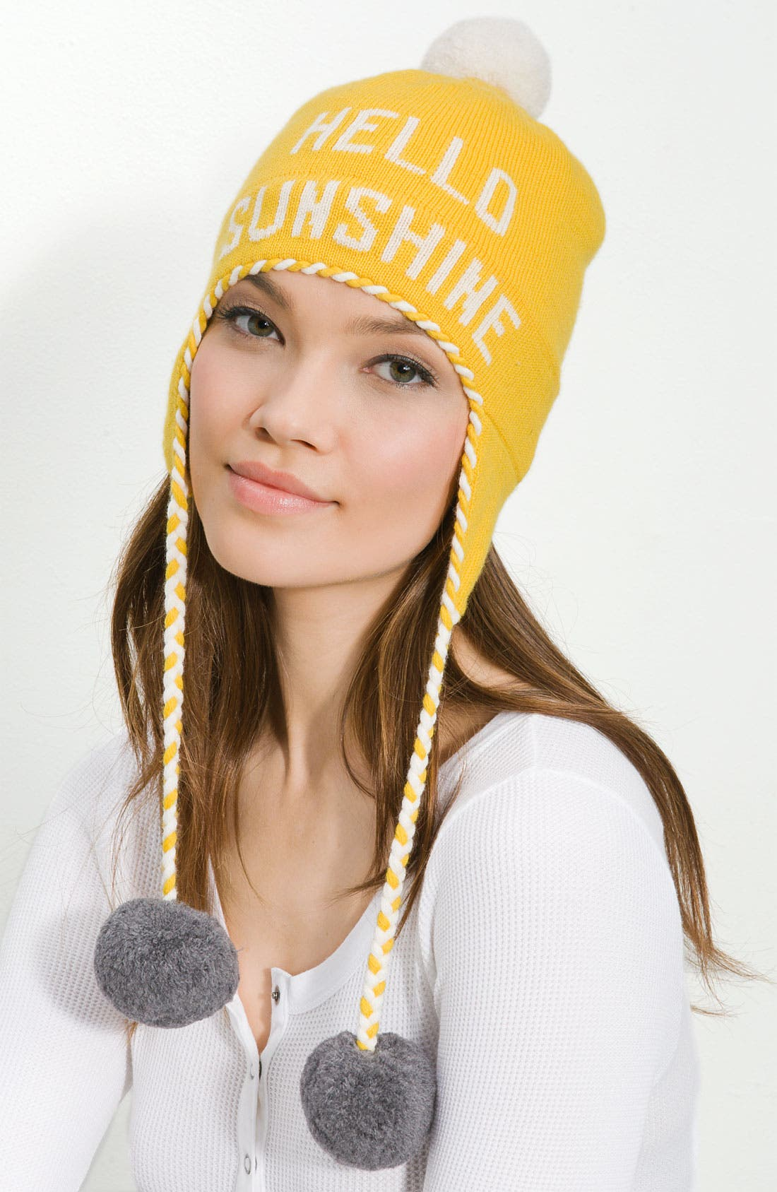 'hello sunshine' ski hat,                         Main,                         color, Yellow/Cream