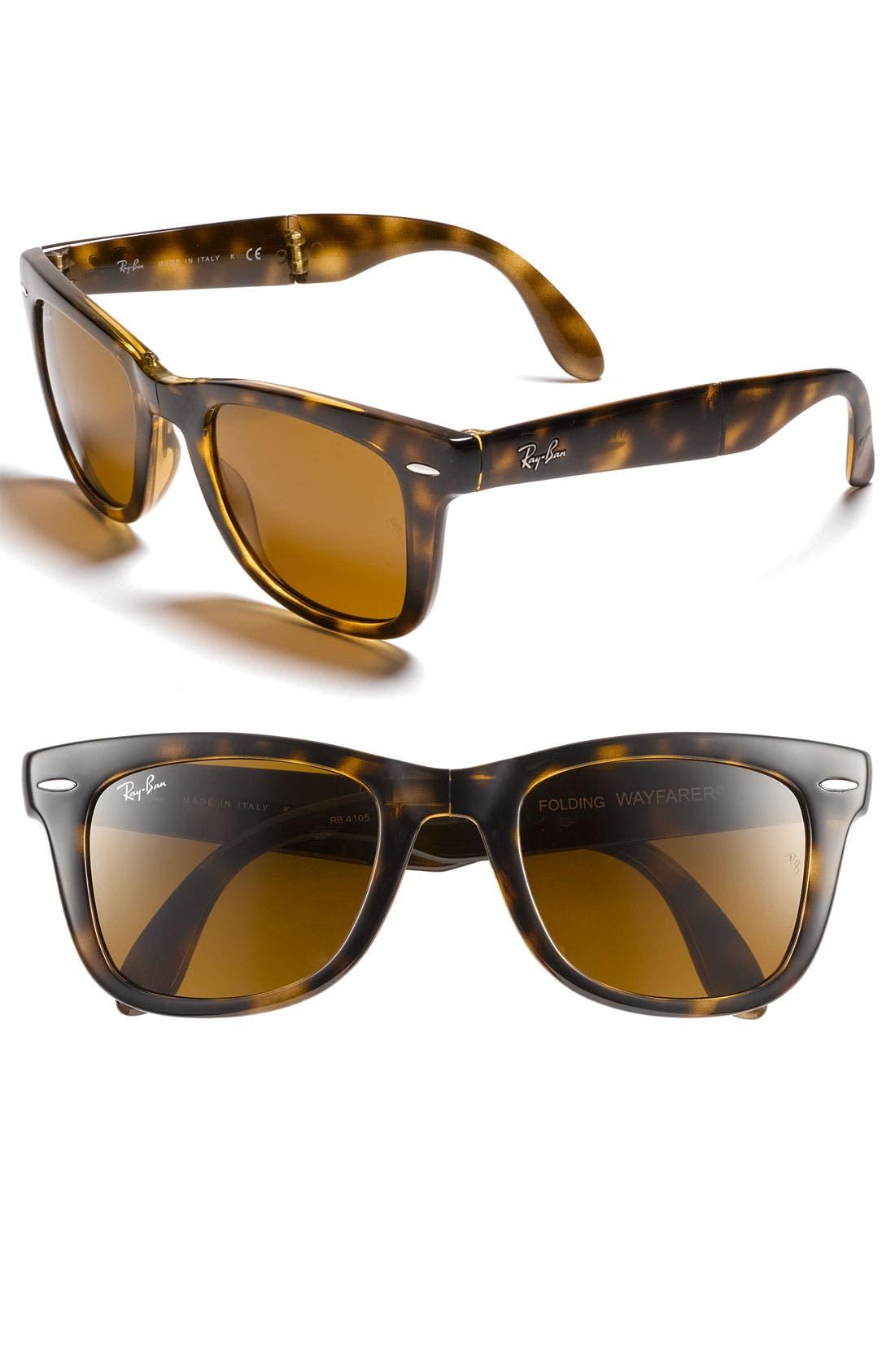 Standard 50mm Folding Wayfarer Sunglasses,                         Main,                         color, Brown Flash