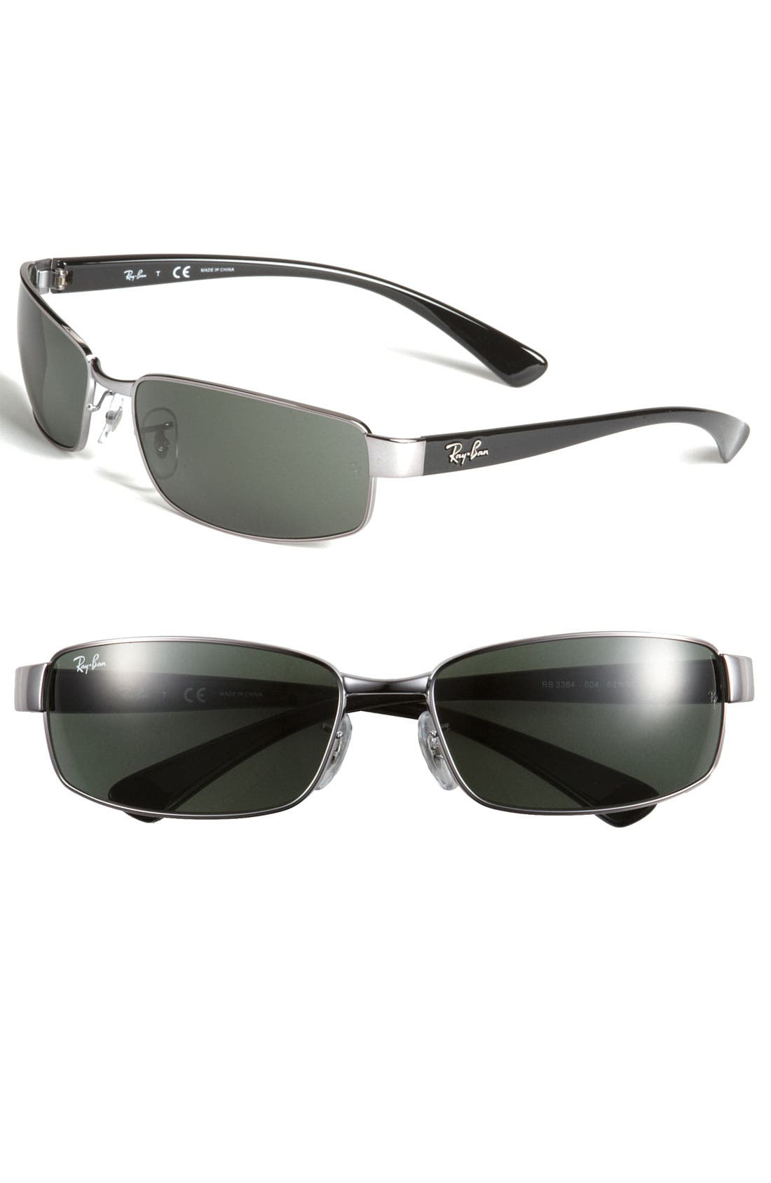 Main Image - Ray-Ban Metal Rectangle 62mm Wrap Sunglasses