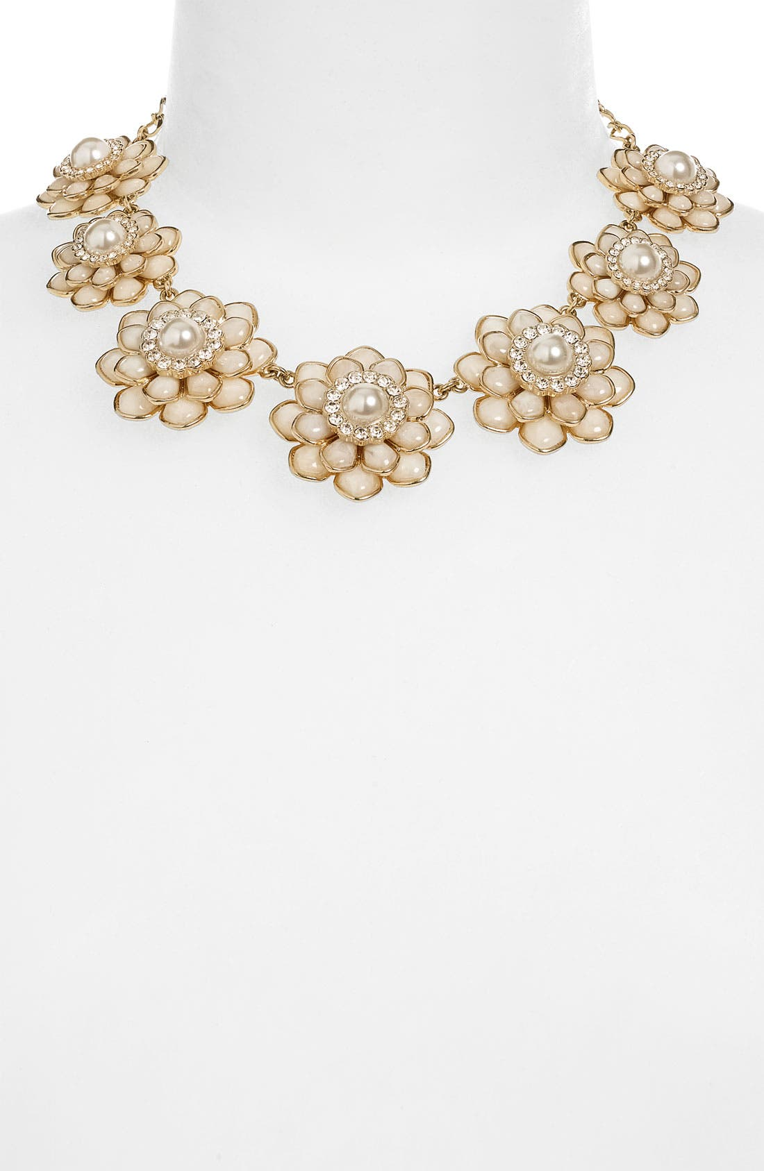 'sweet zinnia' floral necklace,                         Main,                         color, Cream/ Gold