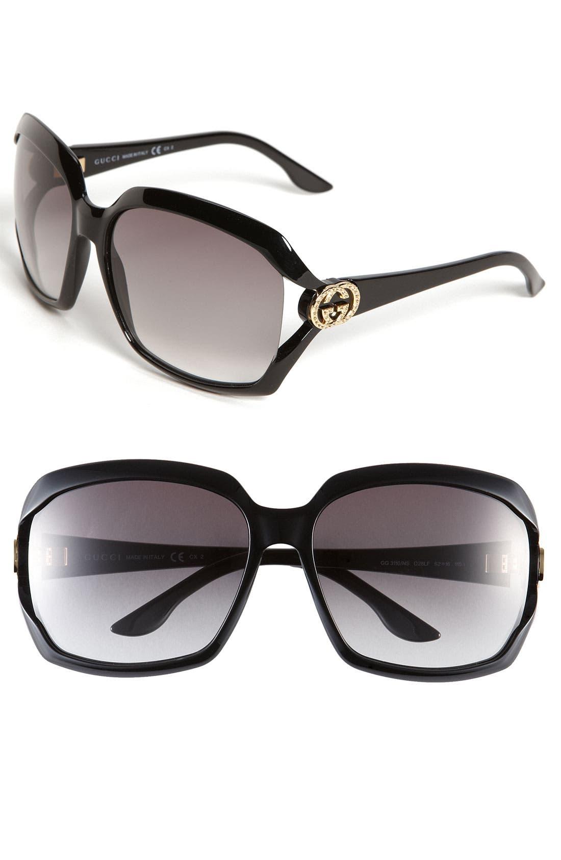 Oversized Sunglasses,                         Main,                         color, Shiny Black