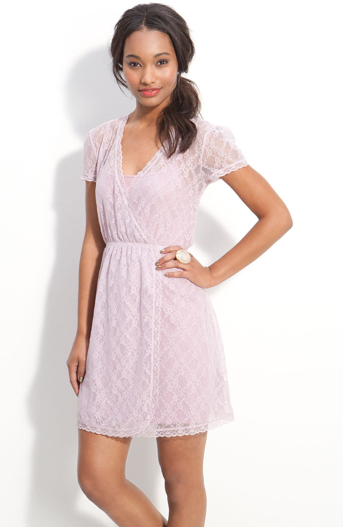 Alternate Image 1 Selected - Frenchi® Layered Lace Faux Wrap Dress (Juniors)