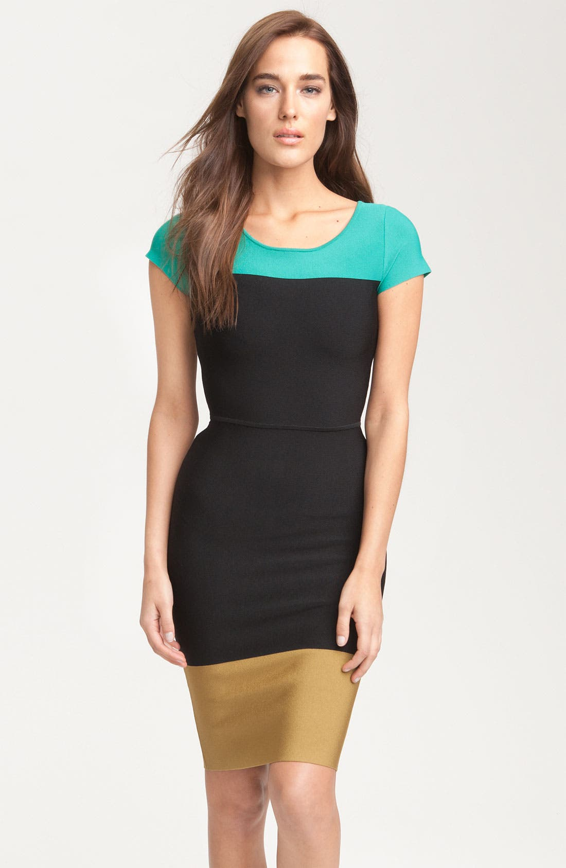 Main Image - BCBGMAXAZRIA Colorblock Knit Dress