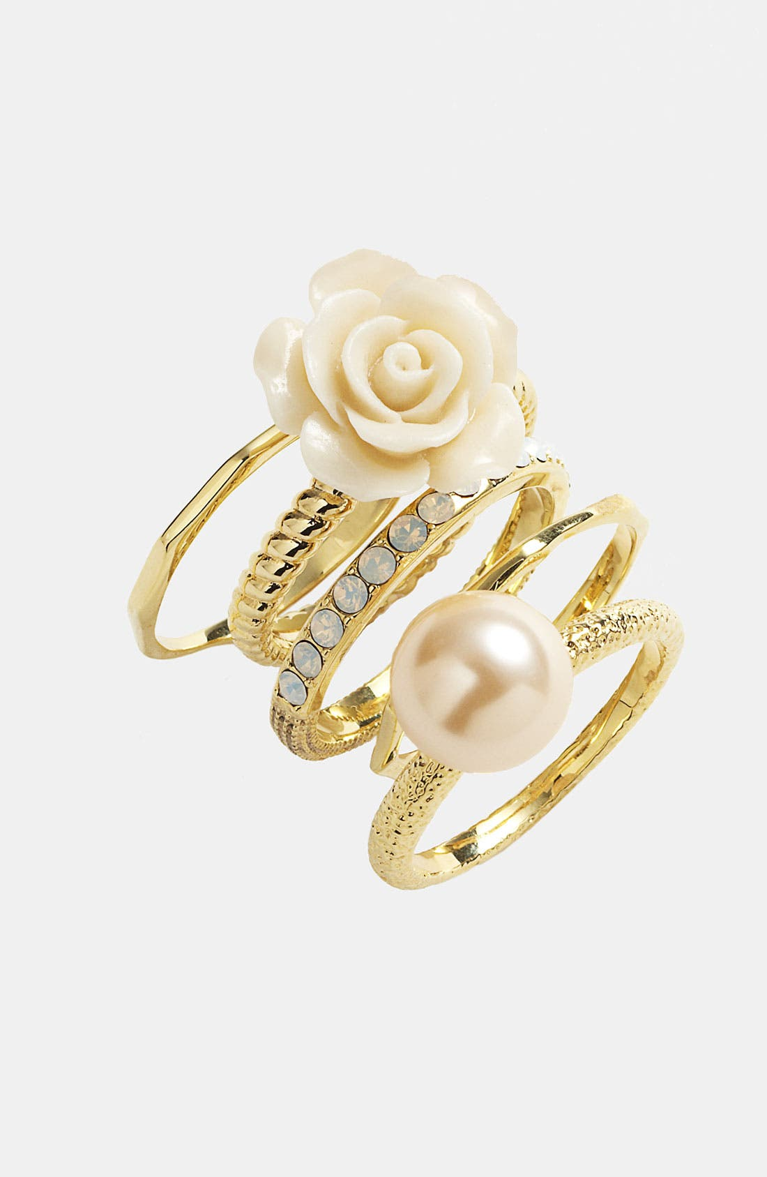 Alternate Image 2  - Ariella Collection Flower & Faux Pearl Stack Rings (Set of 5) (Nordstrom Exclusive)