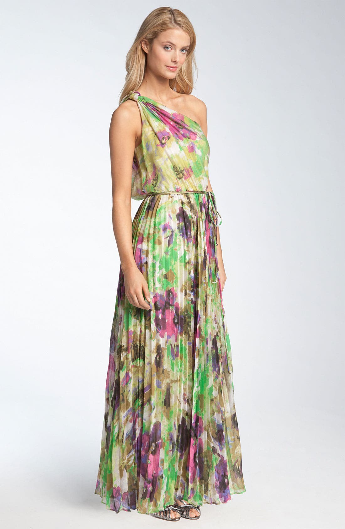 Alternate Image 1 Selected - Maggy London One Shoulder Pleated Crêpe de Chine Maxi Dress