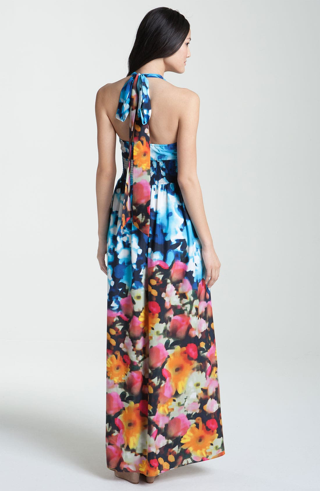 Alternate Image 2  - Eliza J Print Halter Crepe Maxi Dress