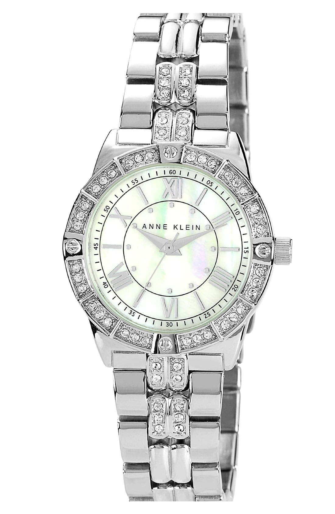 Alternate Image 1 Selected - Anne Klein Round Crystal Bracelet Watch